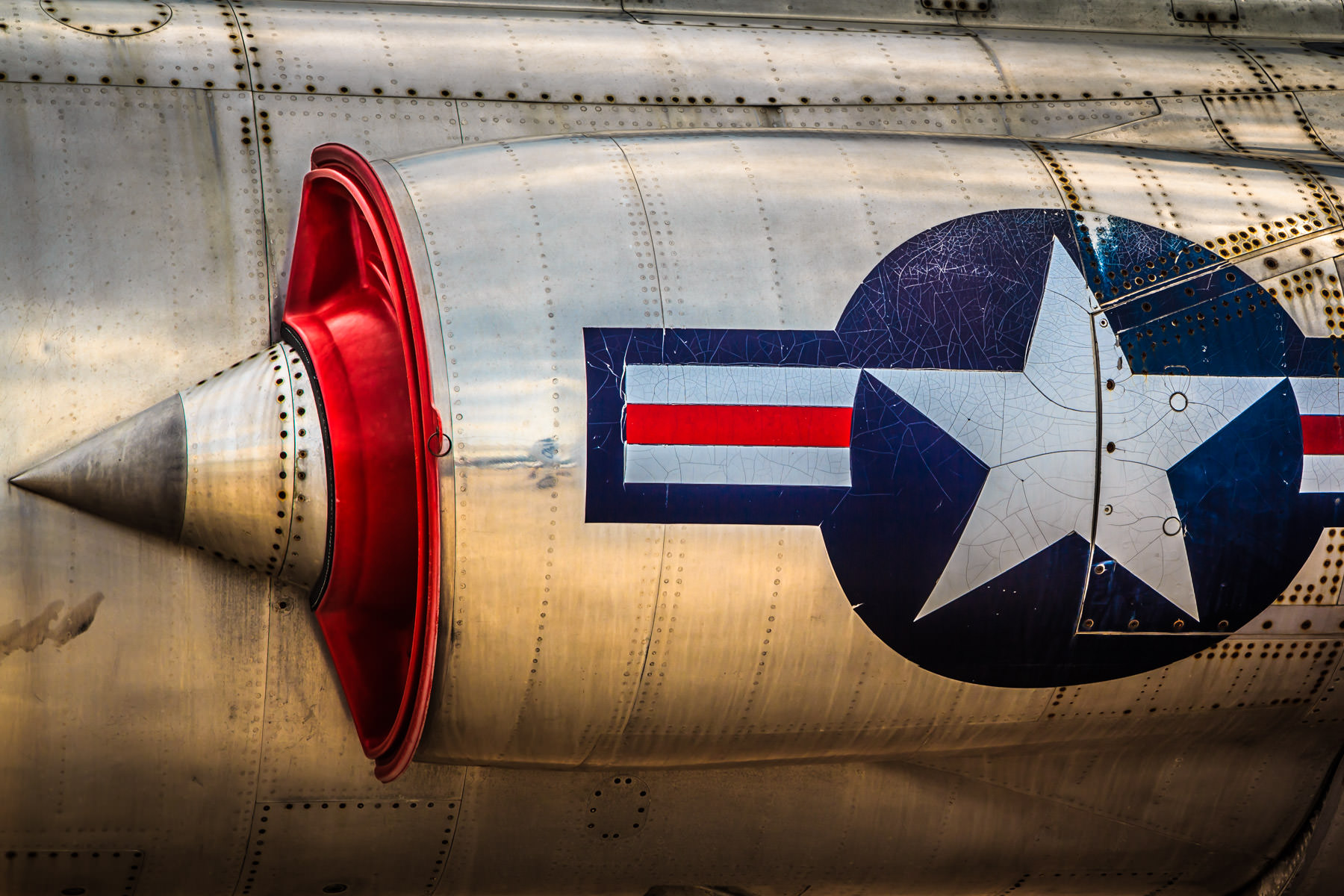 Detail of a Lockheed F-104A Starfighter at the Cavanaugh Flight Museum, Addison, Texas.