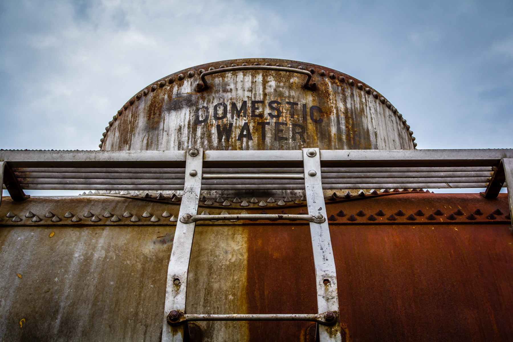 Detail of a railroad tank car spotted in Grapevine, Texas.
