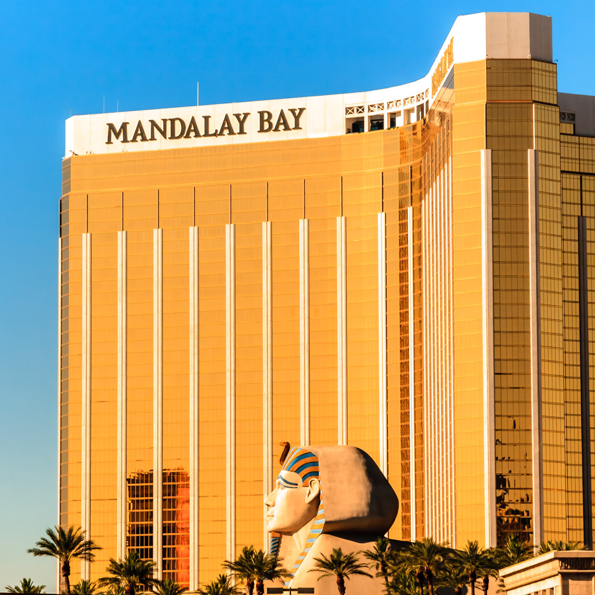 Mandalay Bay Hotel & Casino looms over the Sphinx at the adjacent Luxor, Las Vegas.