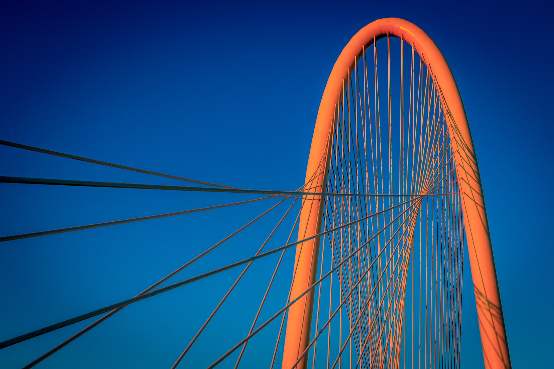 The first light of dawn casts an orange glow over Dallas' Margaret Hunt Hill Bridge, designed by Santiago Calatrava and dedicated in 2012.