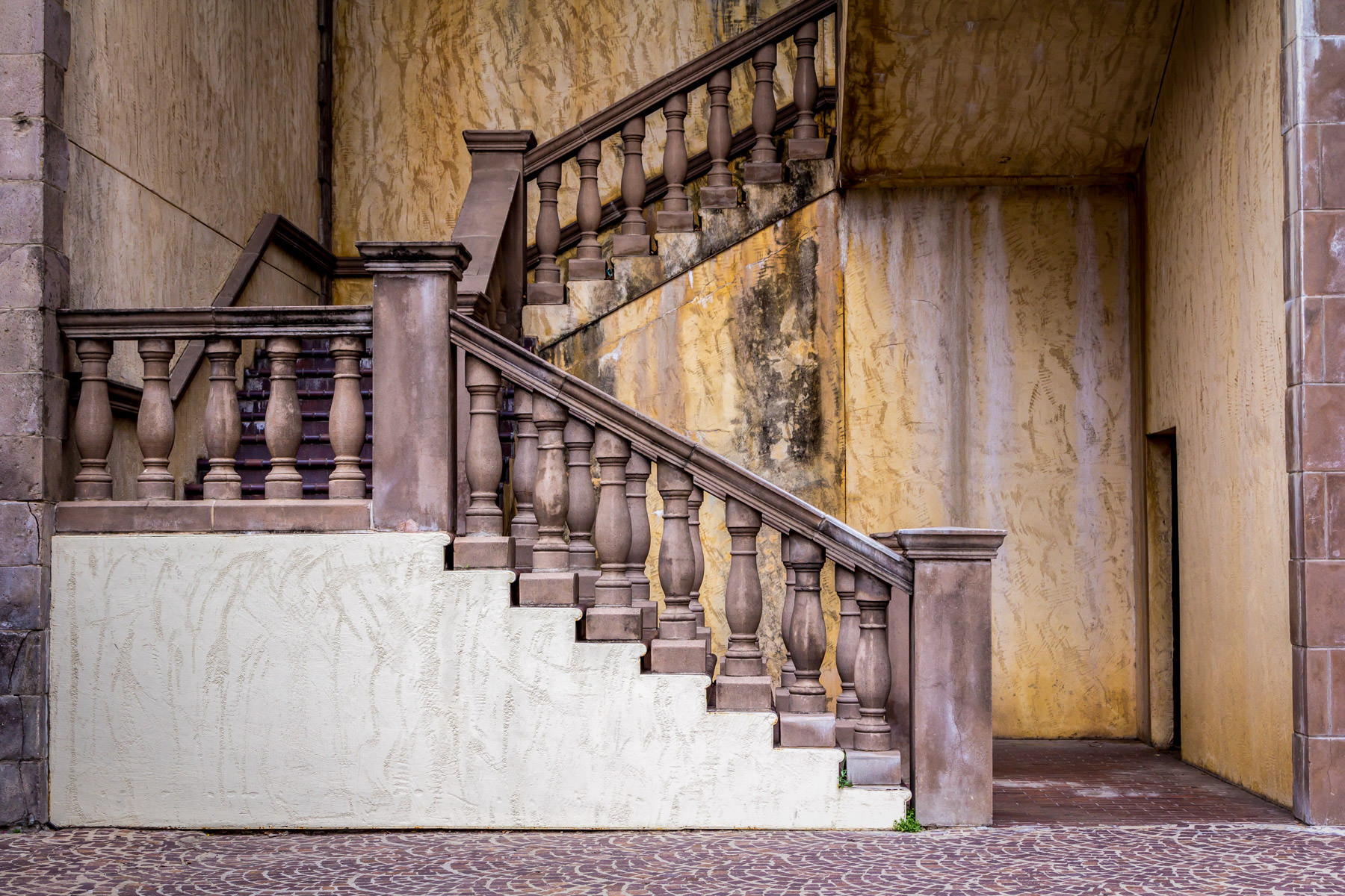 A Spanish-style staircase spotted along the Mandalay Canal, Las Colinas, Irving, Texas.