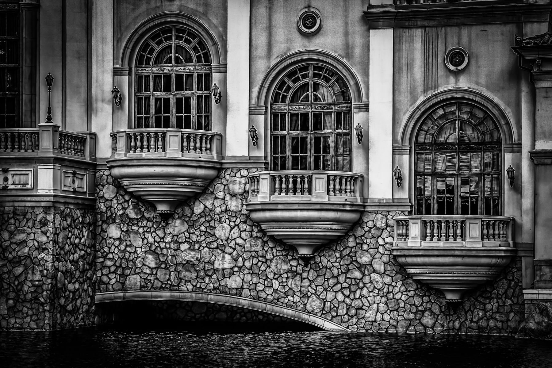 Exterior detail of The Bellagio, Las Vegas.