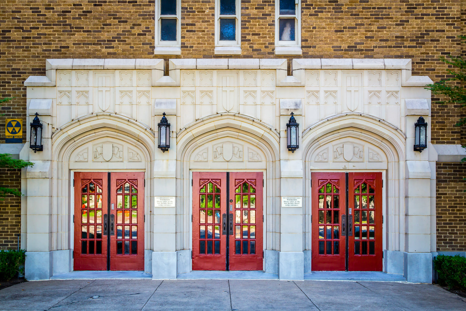 The doors of Downtown Dallas' First United Methodist Church.