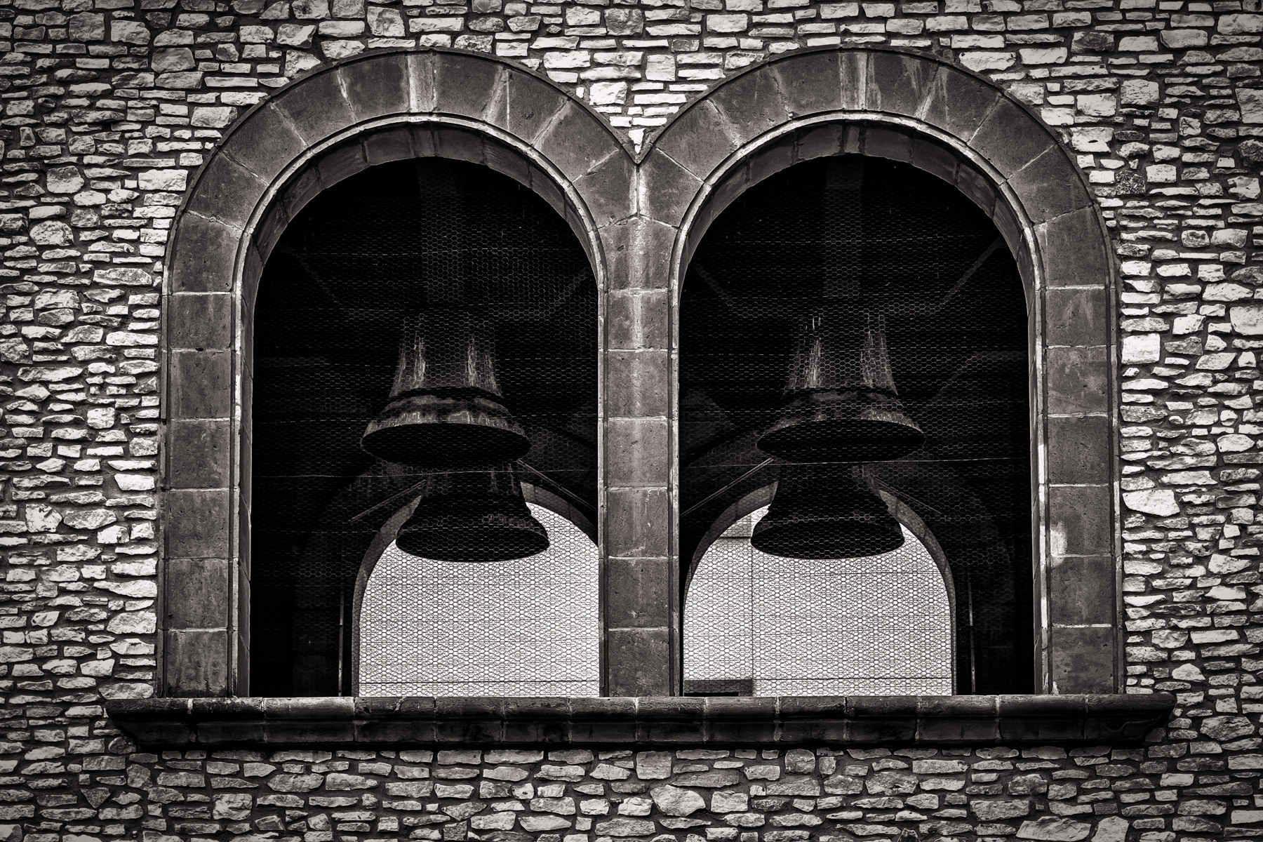 Bells in a bell tower along the Mandalay Canal, Las Colinas, Irving, Texas.