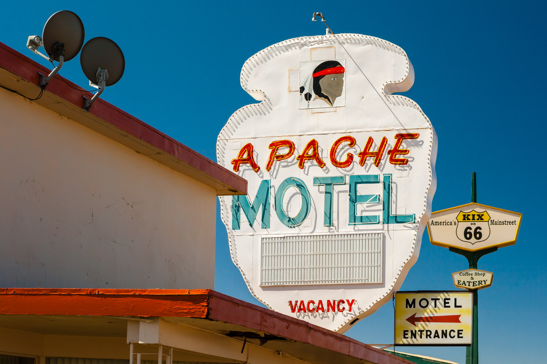 The sign at the Apache Motel in Tucumcari, New Mexico along historic Route 66.