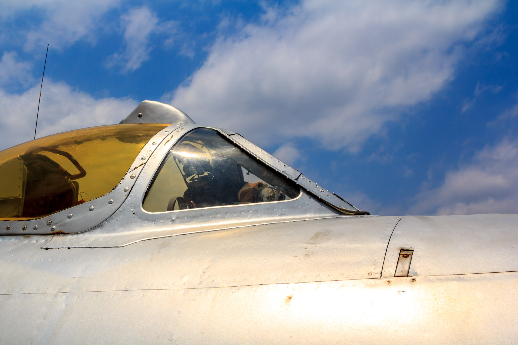 Detail of the cockpit canopy of a Mikoyan-Gurevich MiG-17 at Addison, Texas' Cavanaugh Flight Museum.