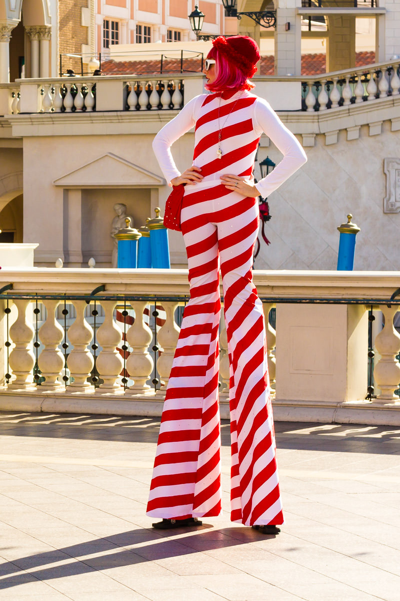 A stilted street performer in the plaza at the Venetian, Las Vegas.