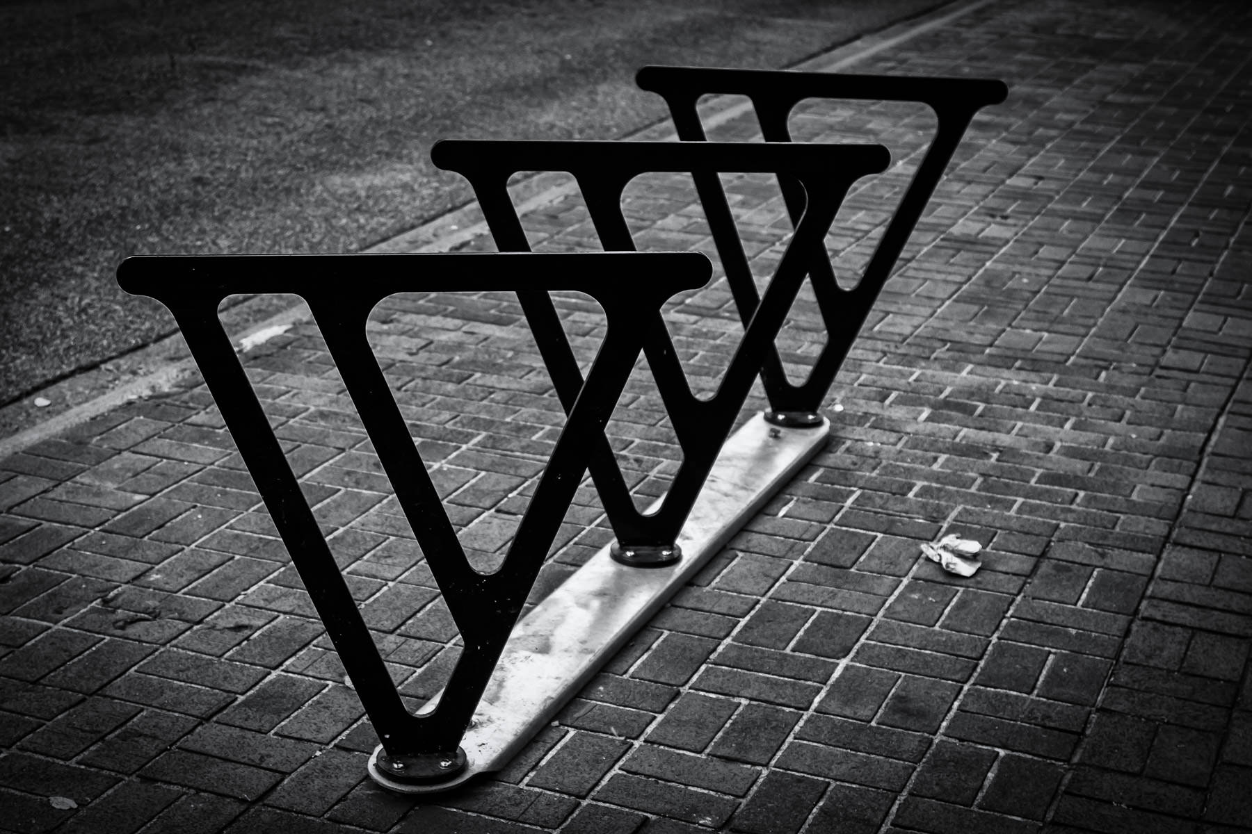 The unique, V-shaped bike racks of Victoria, British Columbia.