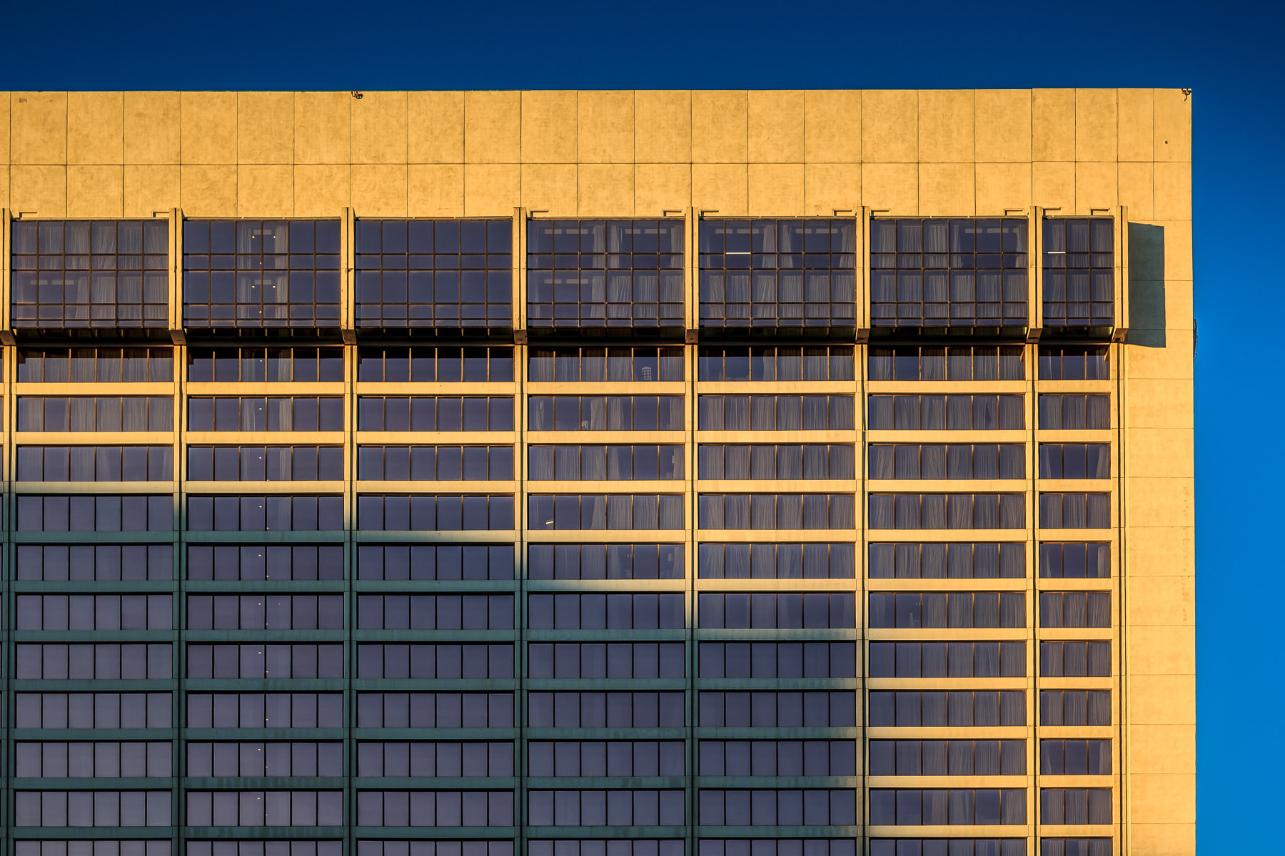 One of the Flamingo Las Vegas' hotel towers rises into the blue Nevada sky. The Flamingo was the third casino/hotel to open on The Strip and is the oldest resort on The Strip still in operation.