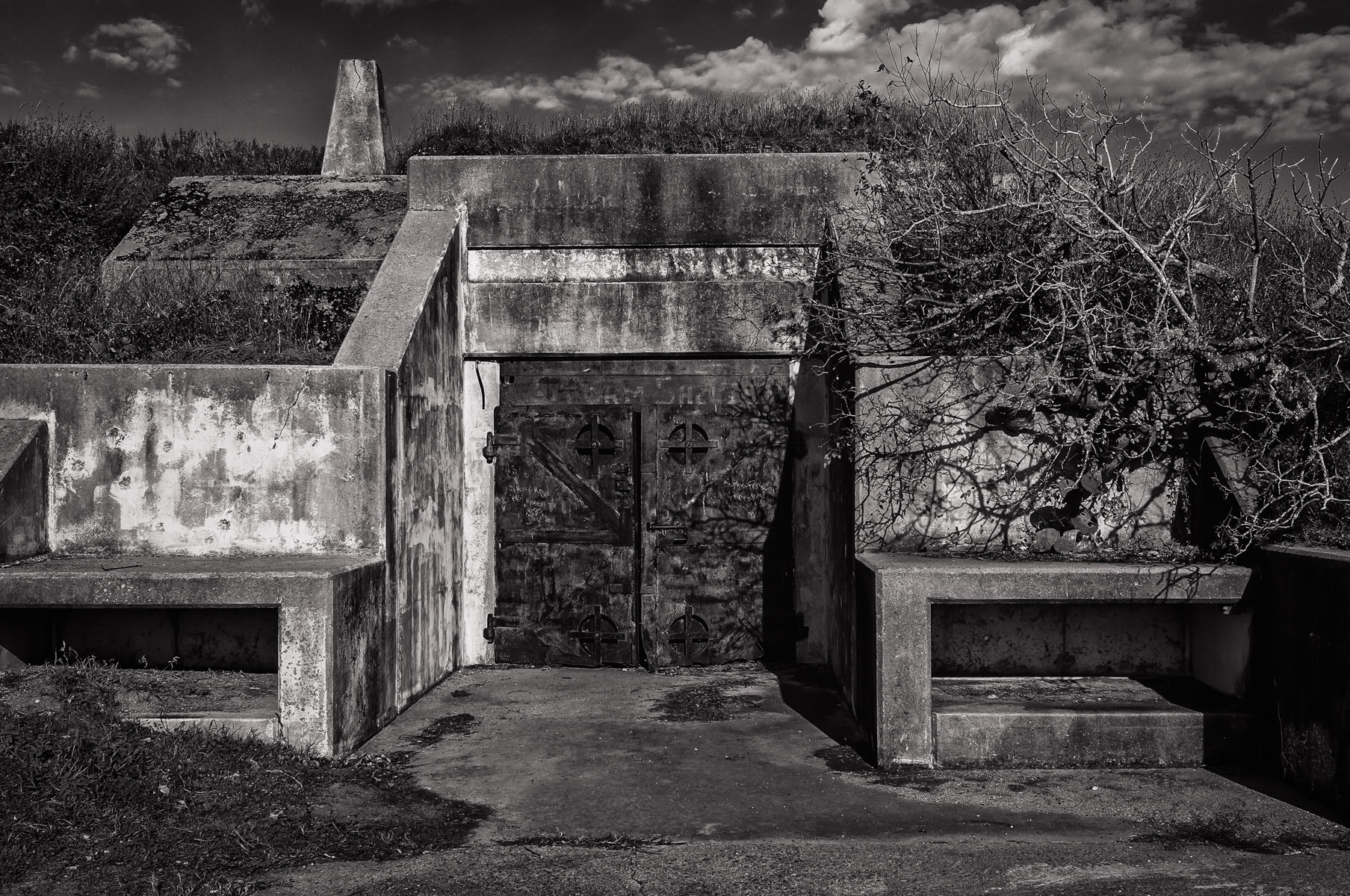 One of the heavily-fortified entrances toBattery 236, located at Fort Travis, Bolivar Peninsula, Texas. This World War II-era fort was tasked with protecting the Houston Ship Channel from possible enemy incursions.