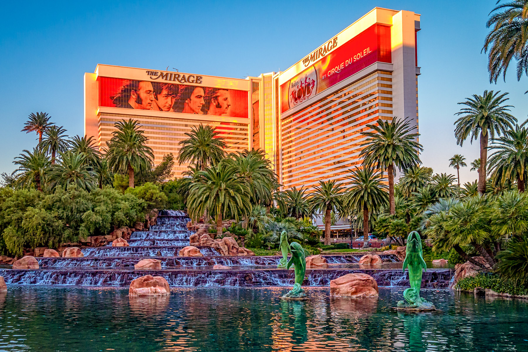 The early-morning sunlight illuminates Las Vegas' Mirage Hotel & Casino.