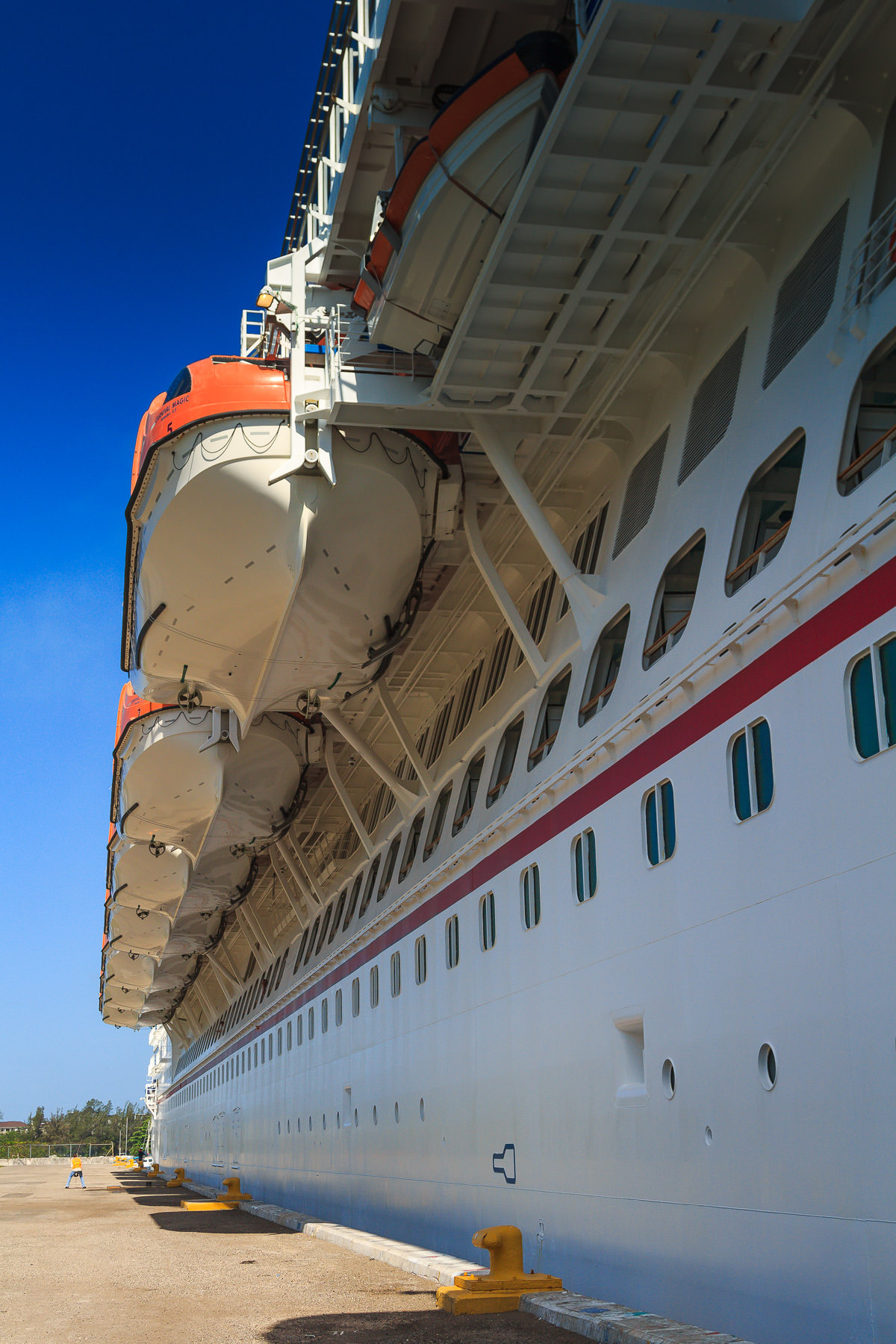 The starboard lifeboats of the cruise ship Carnival Magic while docked at Montego Bay, Jamaica.