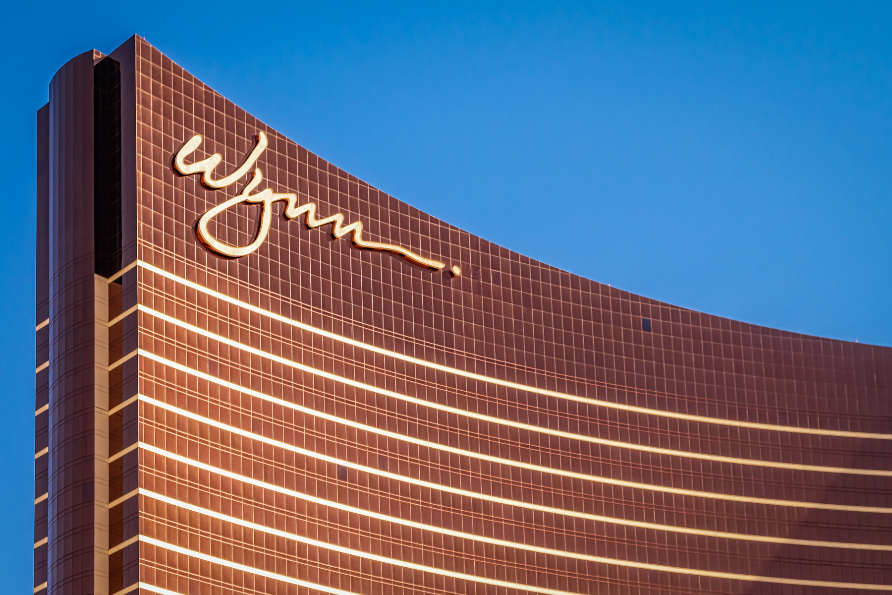 The Wynn Las Vegas catches the late-morning Nevada sun.