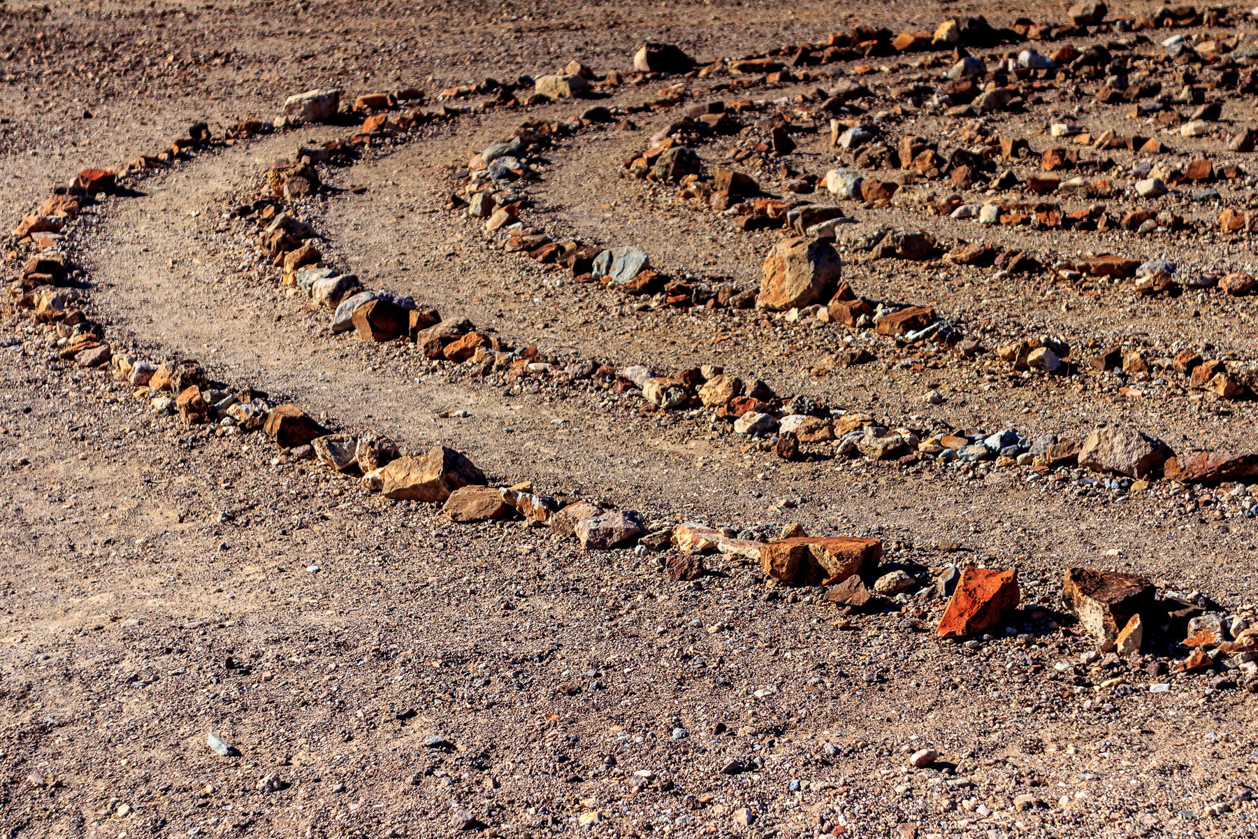 Rings of rocks form a large-scale artwork at the Goldwell Open Air Museum in the ghost town of Rhyolite, Nevada.