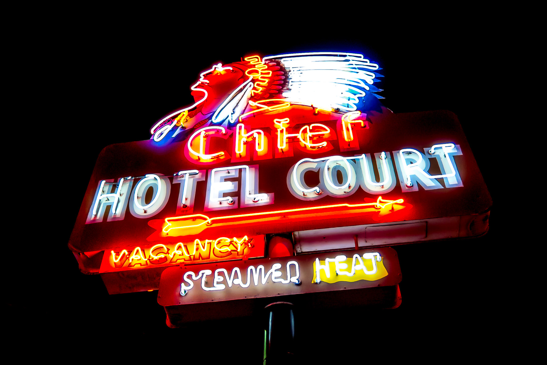 chief hotel sign vegas This striking neon sign for Las Vegas' long-gone Chief Hotel Court was erected in 1940. Since 1997, it's been a part of the collection of the Neon Museum and stands at the northeast corner of Fremont Street and 4th Street in Downtown Las Vegas.
