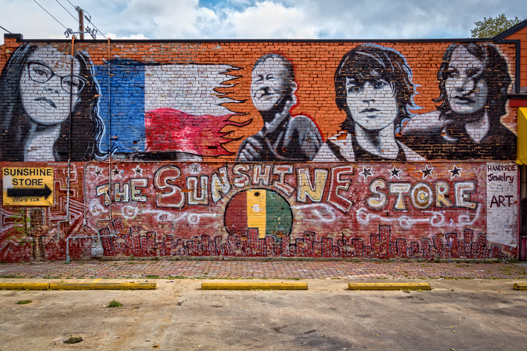 A mural on the outside of The Sunshine Store in Dallas' Deep Ellum neighborhood.