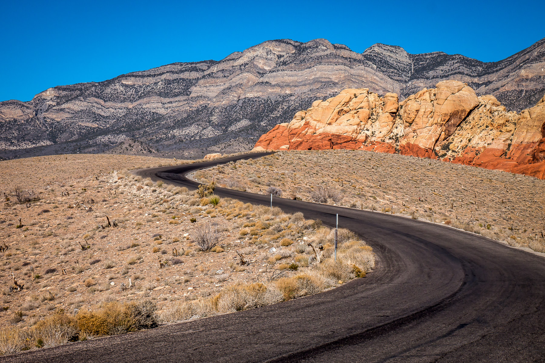 Red Rock Canyon National Conservation Area's Scenic Loop Drive snakes through the Nevada desert.