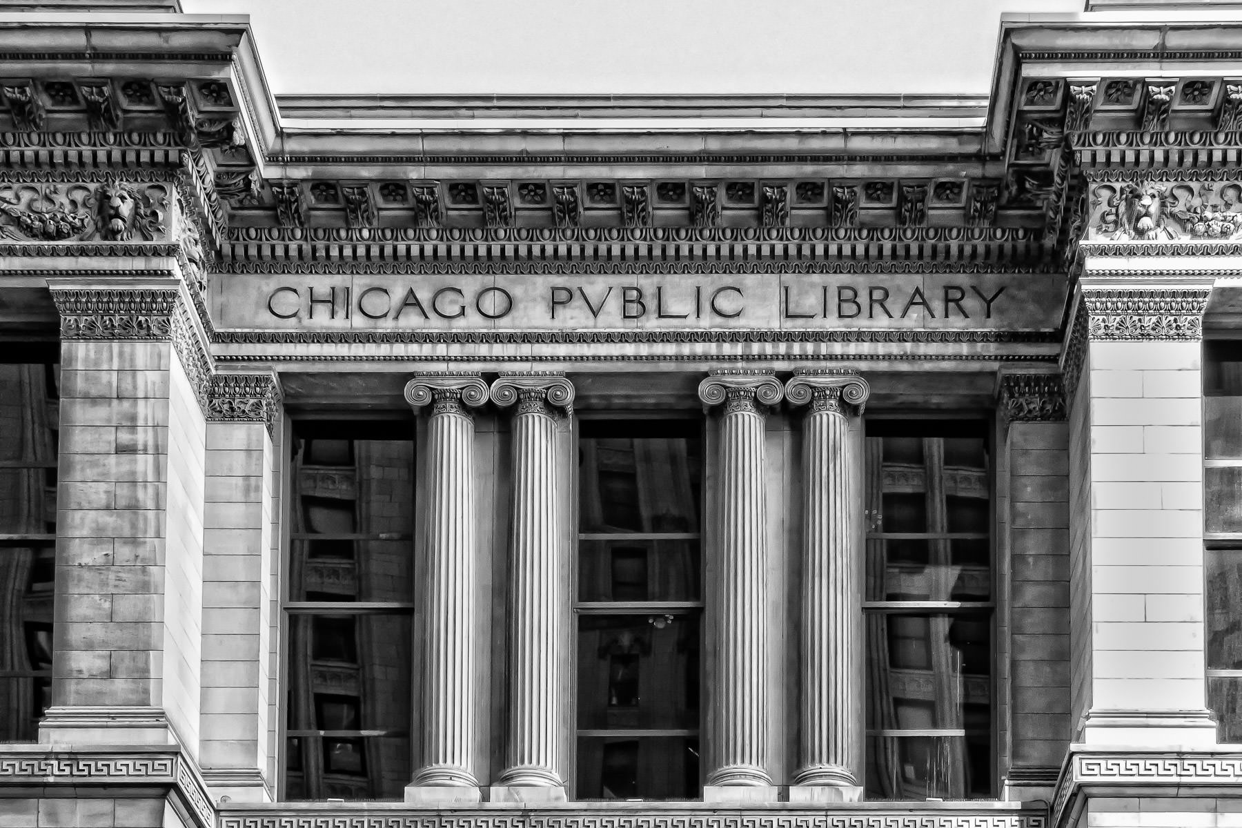 Architectural detail of the Chicago Cultural Center, originally built in 1897 as the city's main public library.