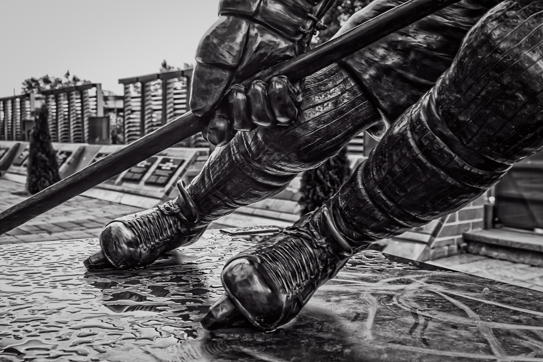 Detail of a statue of Montreal Canadiens legend Guy Lafleur in the plaza in front of Montreal's Centre Bell.