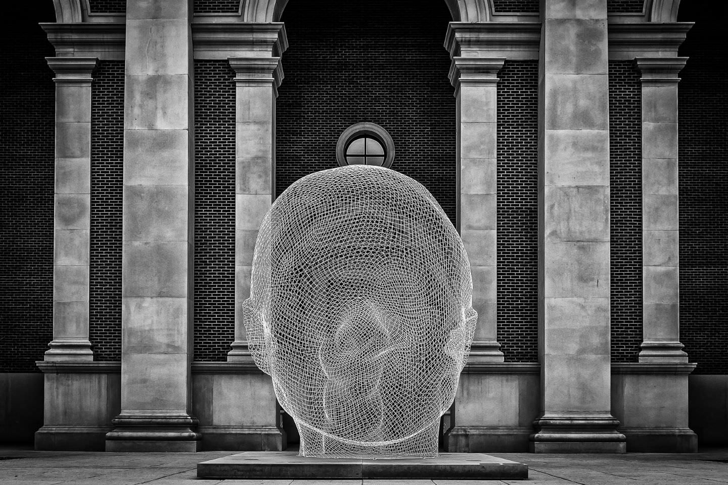 A 13-foot-tall stainless steel sculpture of a woman's head titled Sho by Spanish sculptor Jaume Plensa sits in front of the Meadows Museum of Art on the campus of SMU in Dallas.