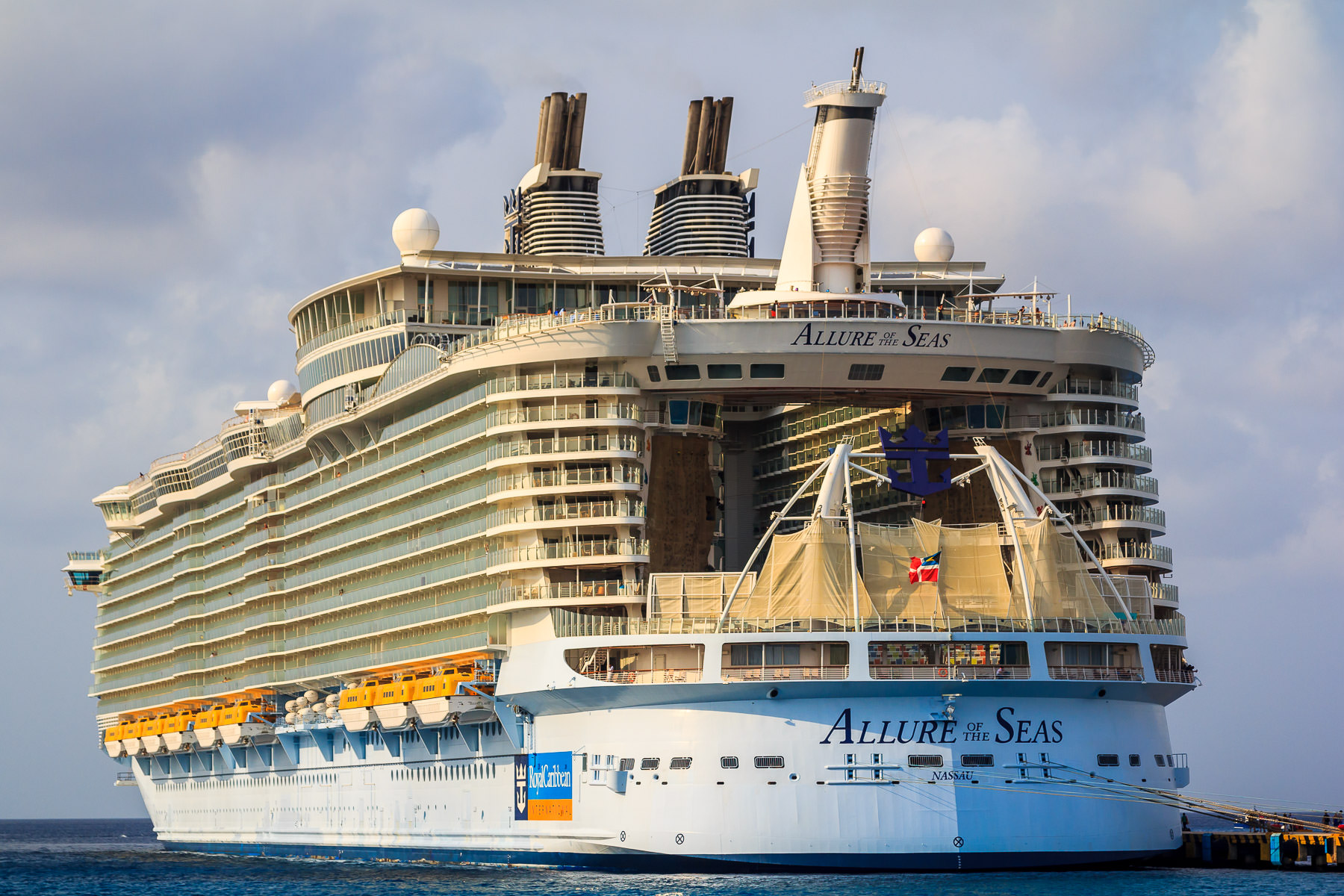 Royal Caribbean's Allure of the Seas—the largest passenger ship ever built—docked at Cozumel, Mexico.