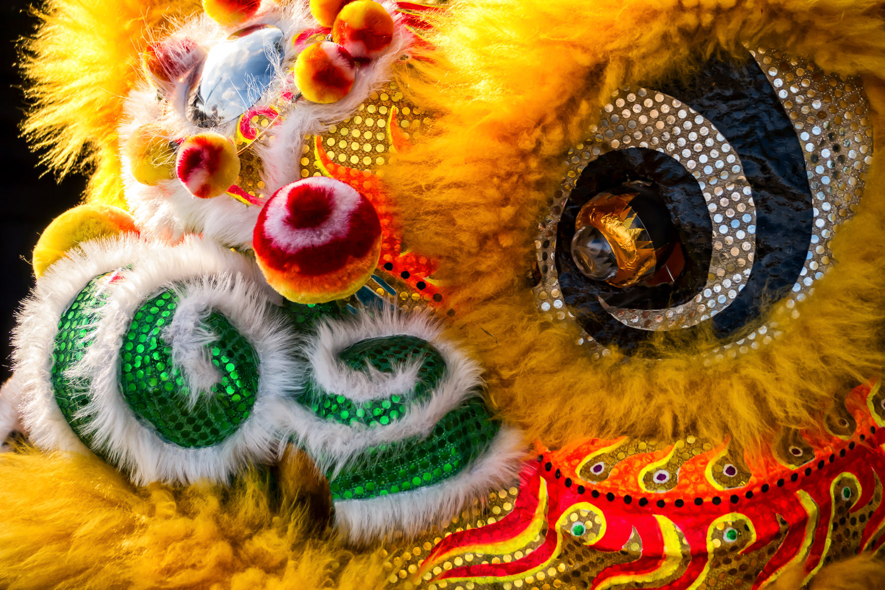 Detail of a traditional lion costume for performing a lion dance (舞狮) at the 2014 DFW Dragon Boat Festival at Lake Carolyn, Las Colinas, Irving, Texas.
