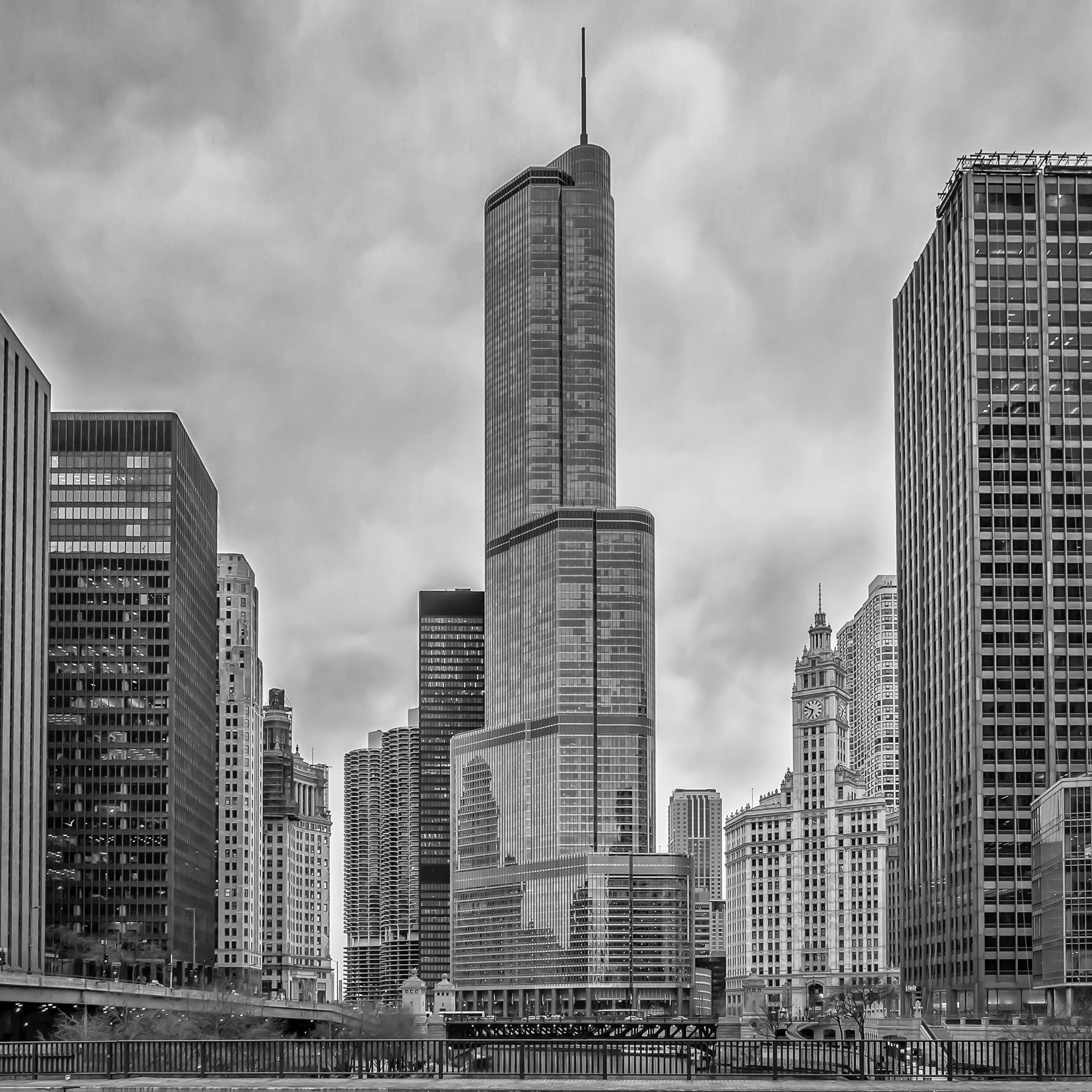 The Trump International Hotel & Tower rises into the overcast Chicago sky.