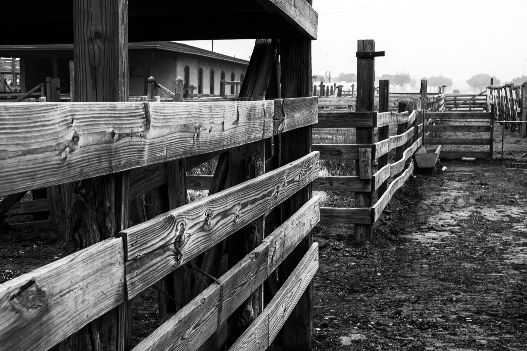Wooden fences on old cattle pens at Fort Worth, Texas' historic Stockyards.