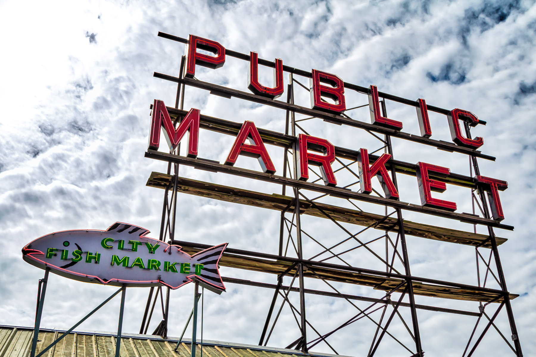 A sign atop Seattle's Pike Place Market for City Fish Market.