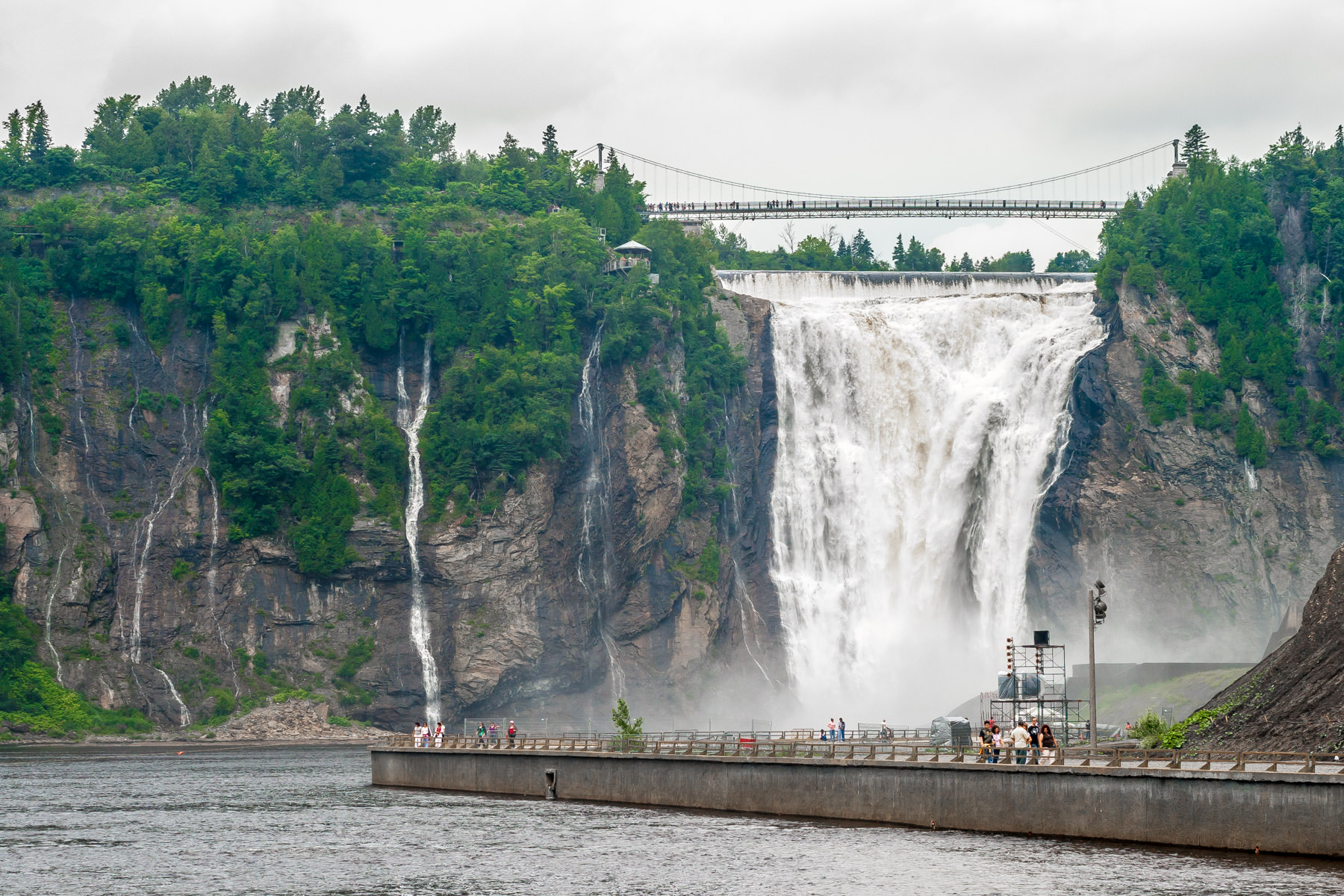 Quebec's Montmorency Falls drop 275 feet (84 meters) where the Montmorency River meets the Saint Lawrence River near Quebec City.