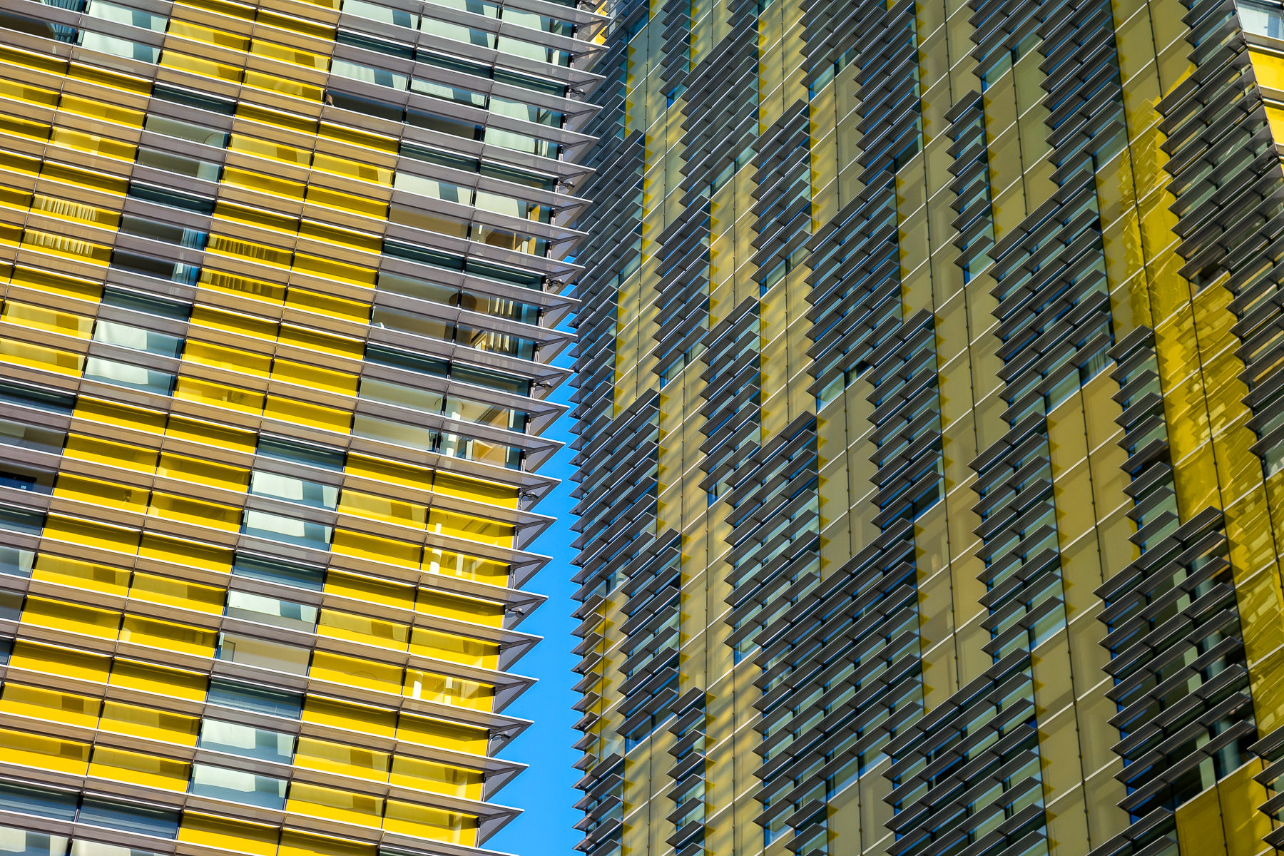 Exterior detail of the Veer Towers with a bit of blue sky peeking between at CityCenter, Las Vegas.