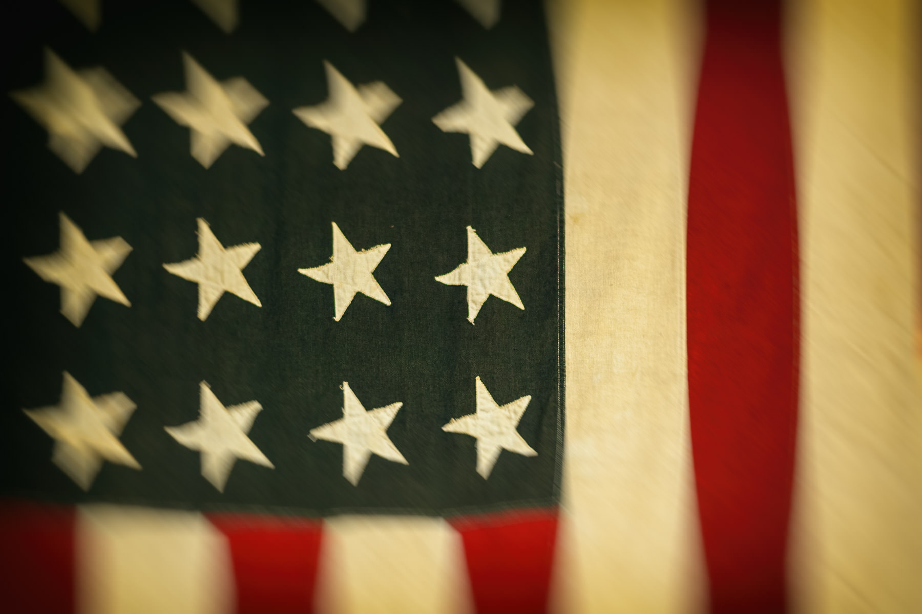 A 48-star American flag at the Nacogdoches, Texas Convention & Visitor's Bureau.