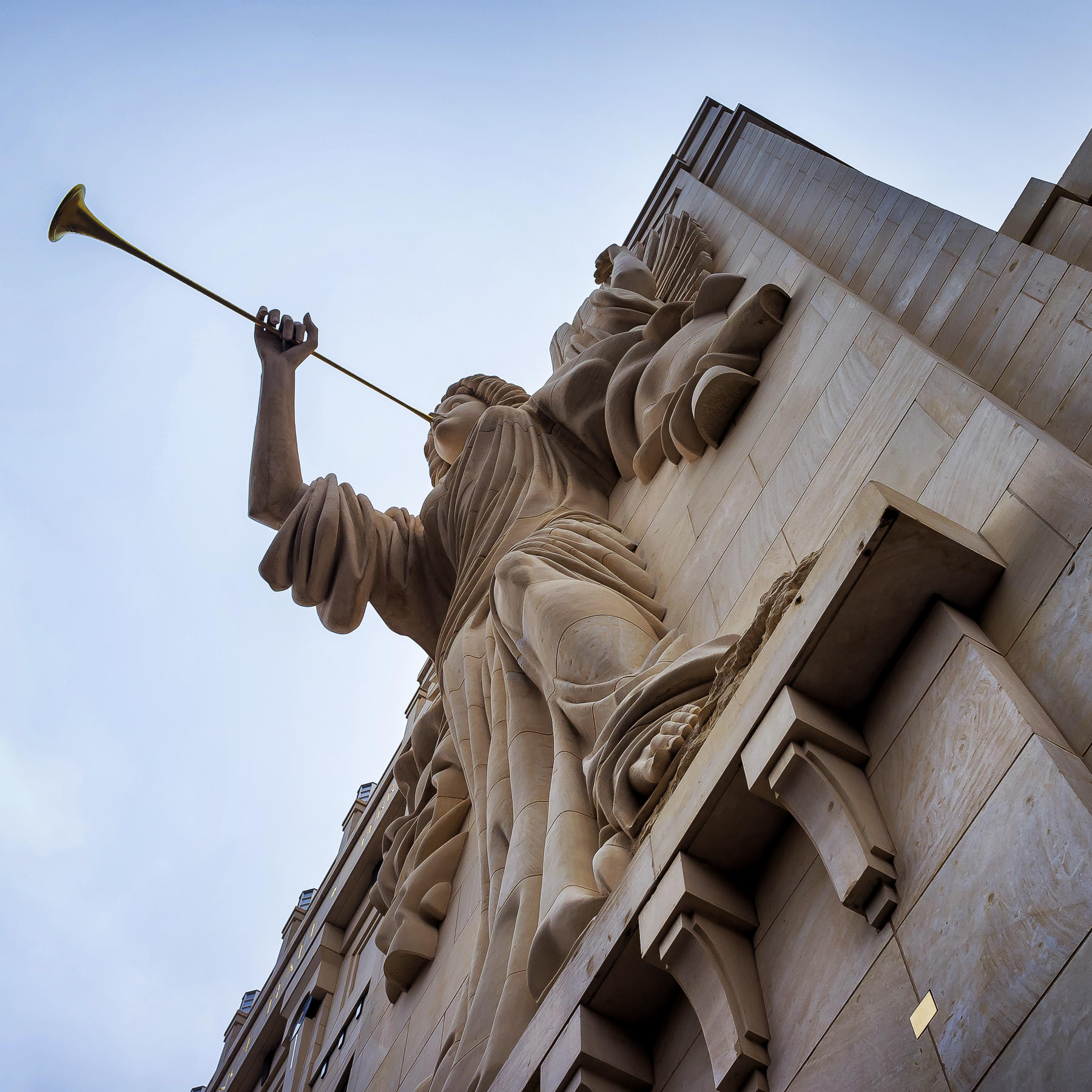 One of two 48-foot-tall trumpet-playing angels on the façade of Fort Worth's Bass Performance Hall.