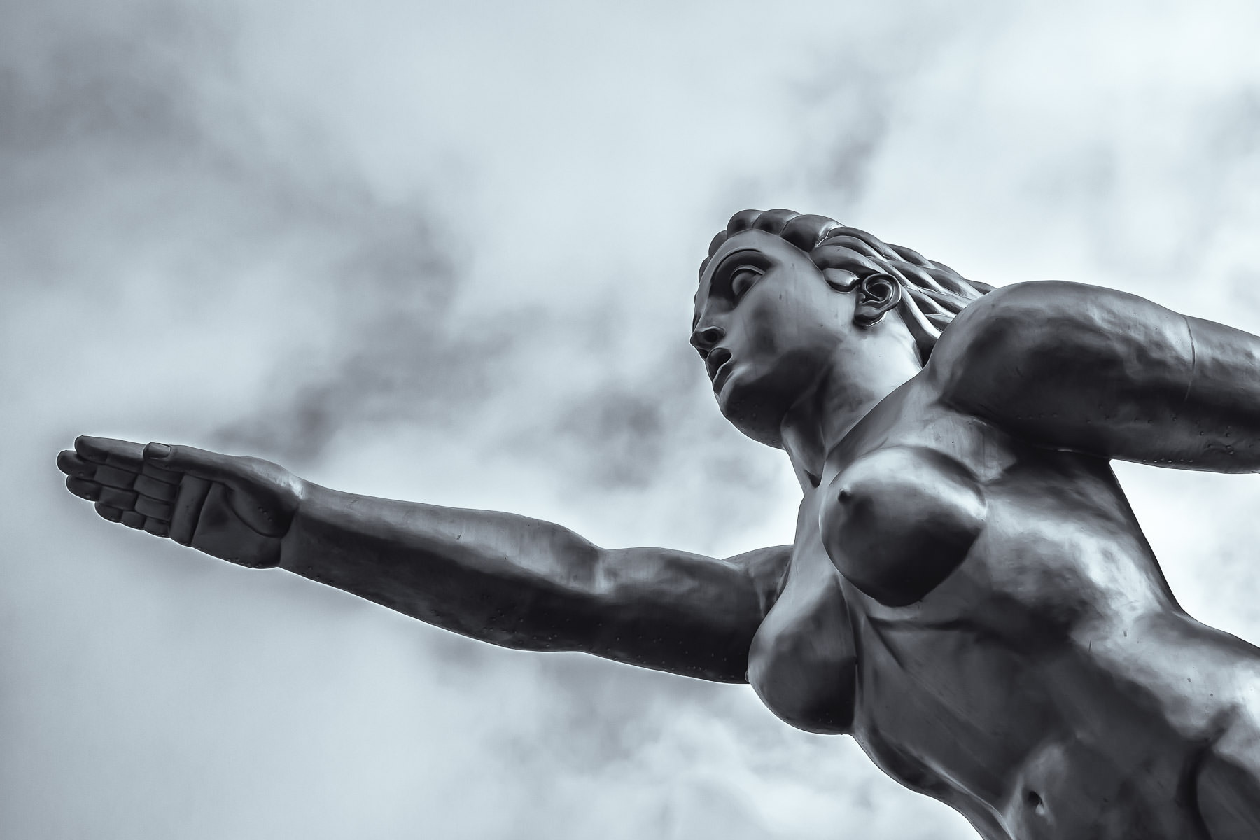 """Detail of Dallas' Fair Park's """"Contralto"""", an art deco statue originally created for the 1936 Texas Centennial by sculptor Lawrence Tenney Stevens and recreated in 2009 by David Newton."""