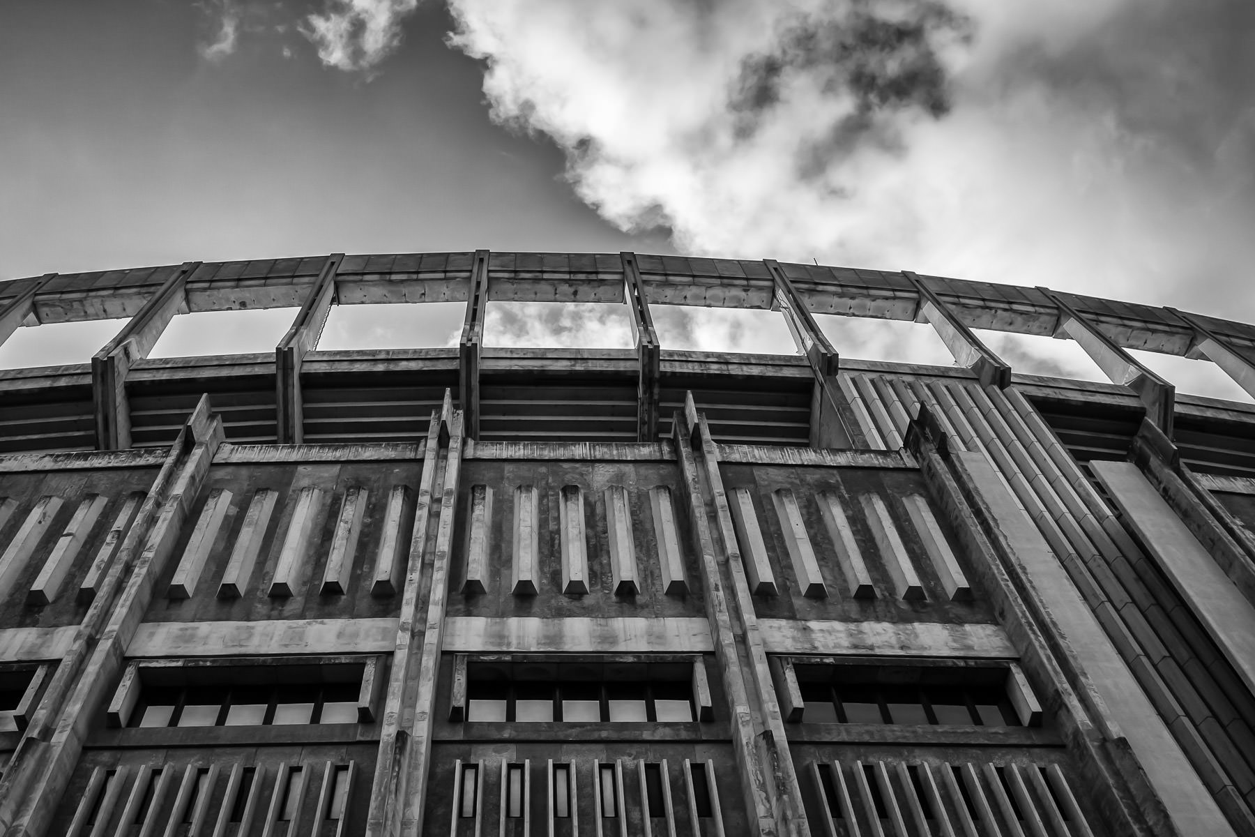 Exterior detail of the Darrell K Royal—Texas Memorial Stadium at the University of Texas at Austin.