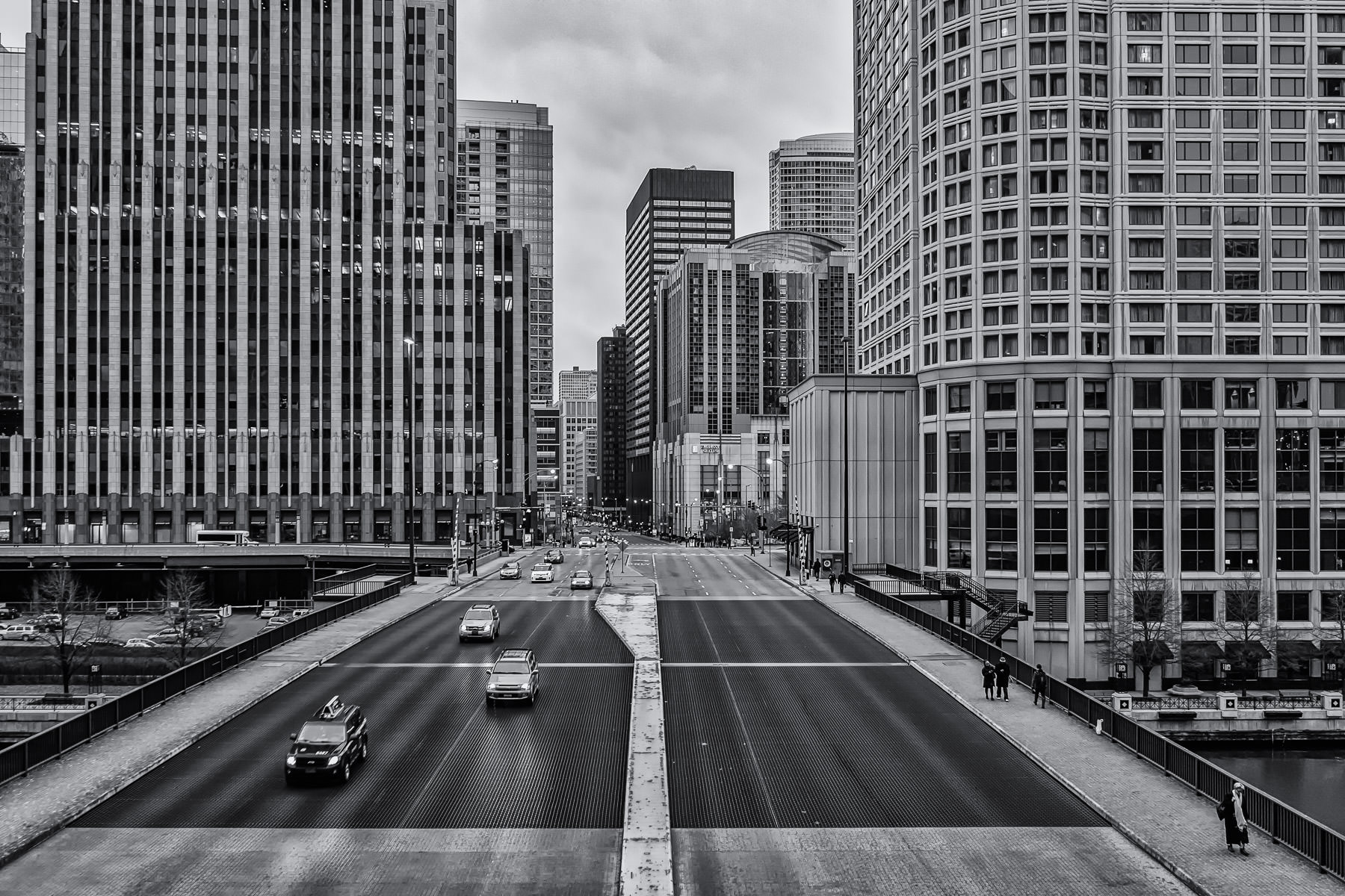 Chicago's Columbus Drive as seen from Upper Wacker Drive as it crosses the Chicago River.