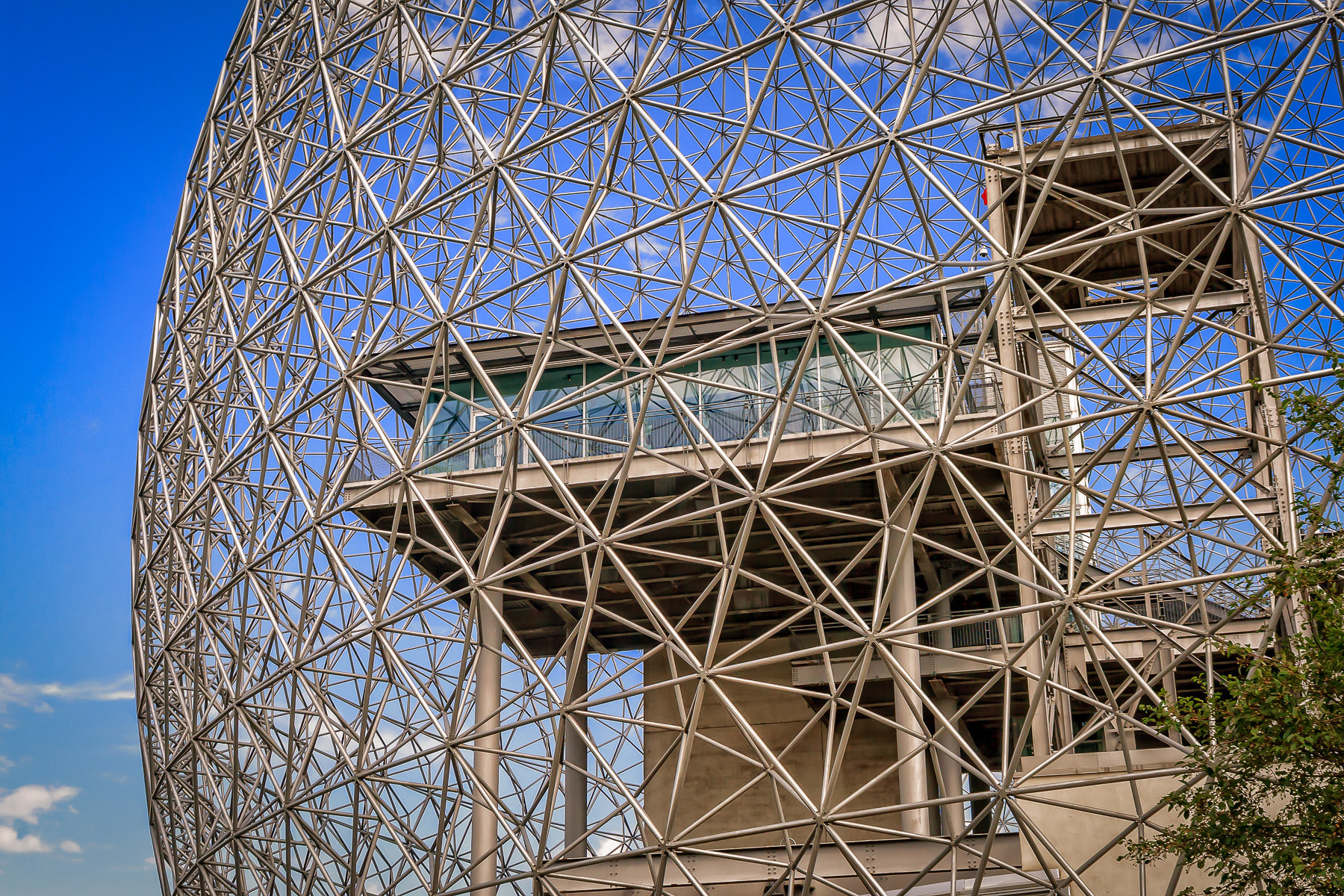 Exterior detail of Montréal's Biosphére, the re-purposed Buckminster Fuller-designed Expo 67 United States Pavilion.