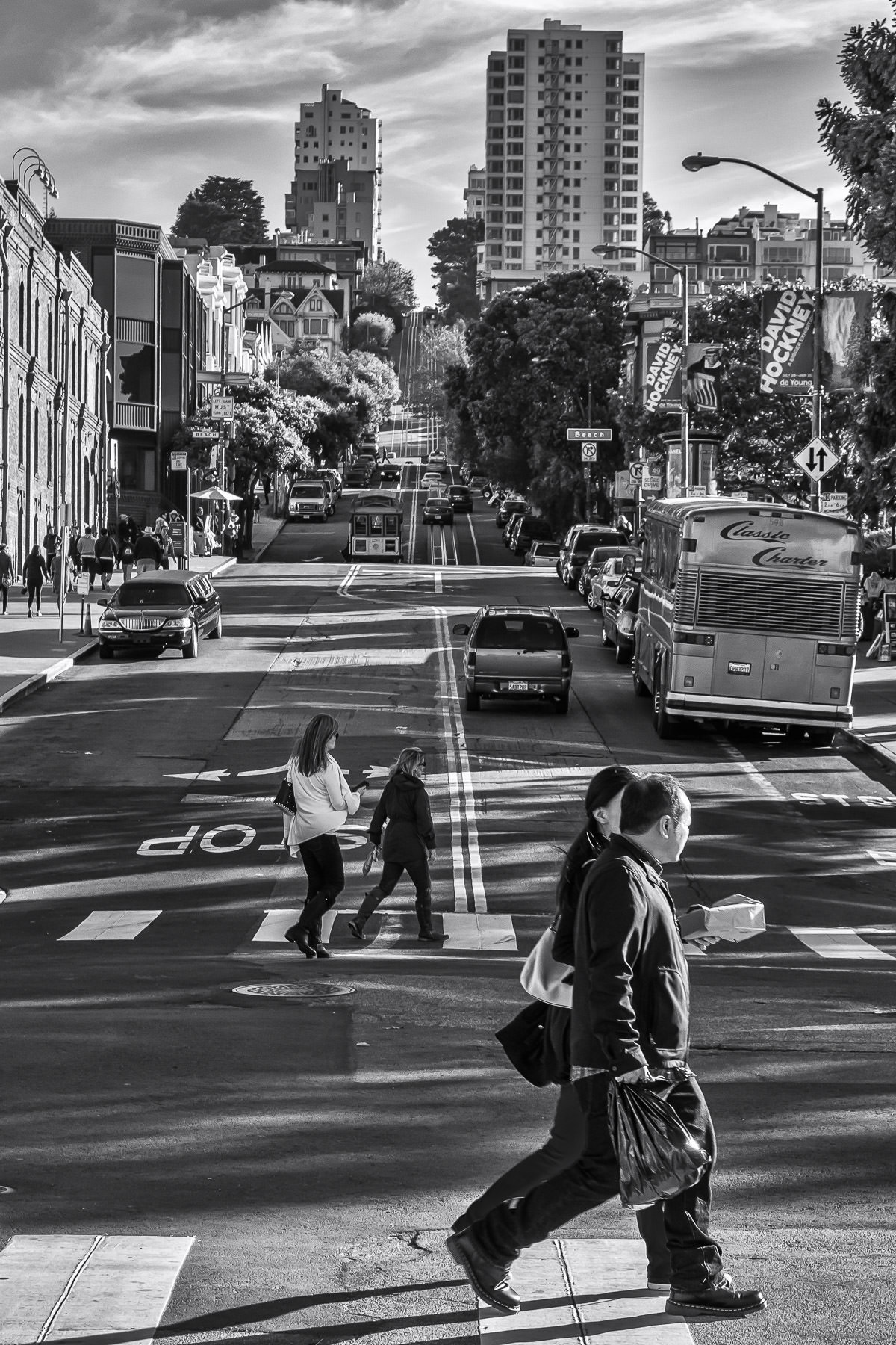 The busy intersection of San Francisco's Hyde Street and Jefferson Street, near the Aquatic Park and Hyde Street Pier.