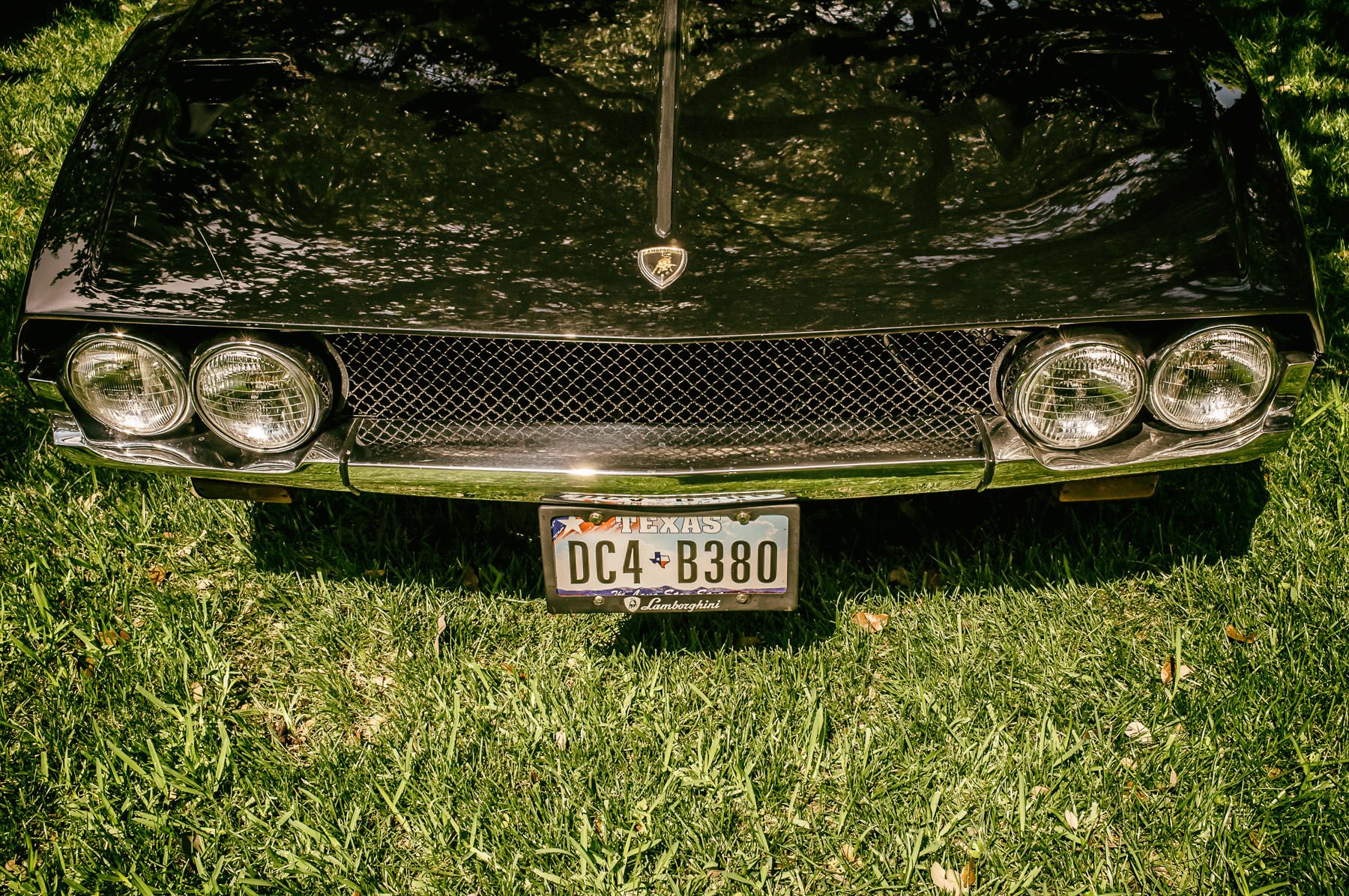 Detail of a classic Lamborghini Espada—named for the sword a bullfighter uses to kill the bull in the ring—at the Cars in the Park event at Dallas' Cooper Aerobics Center.
