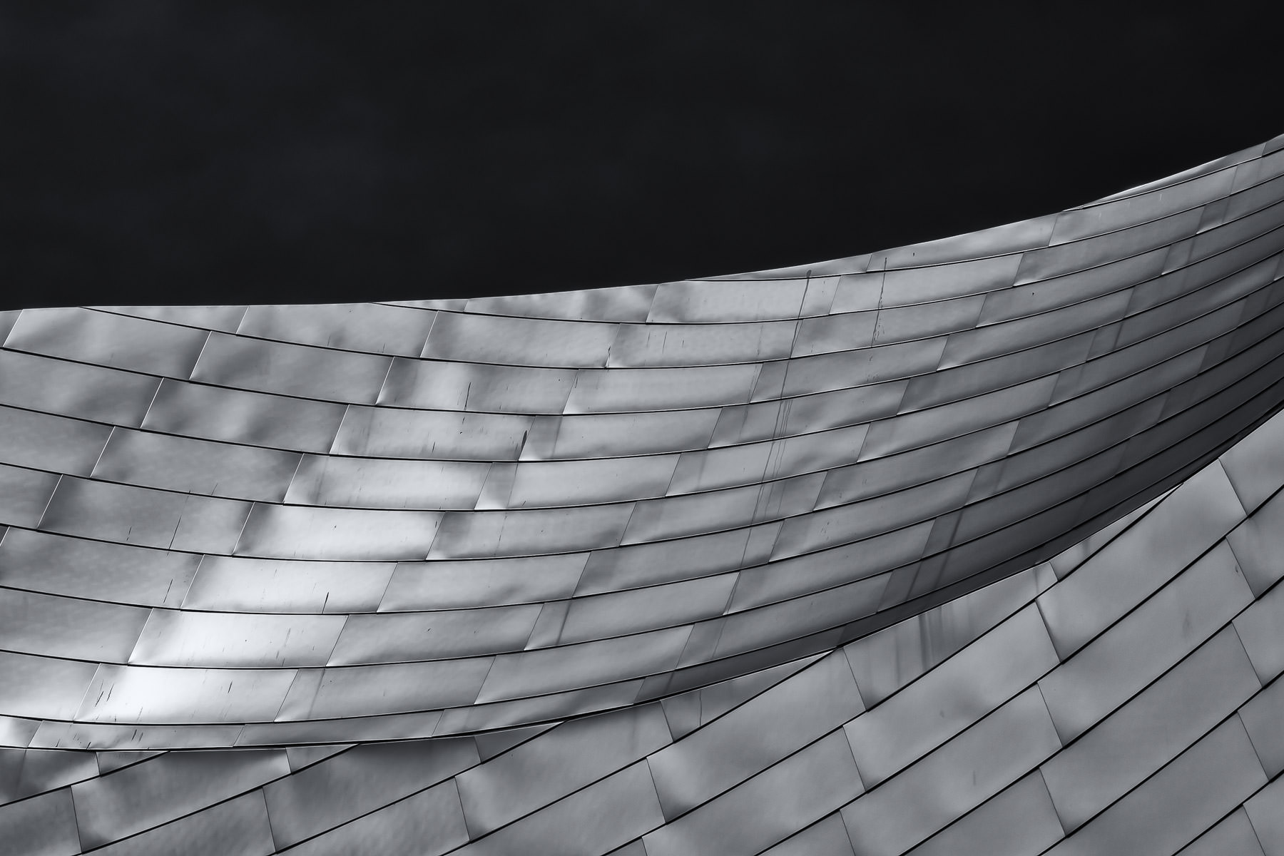 Architectural detail of Chicago's Millennium Park's Jay Pritzker Pavillion, an open-air concert venue designed by Frank Gehry and opened in 2004.