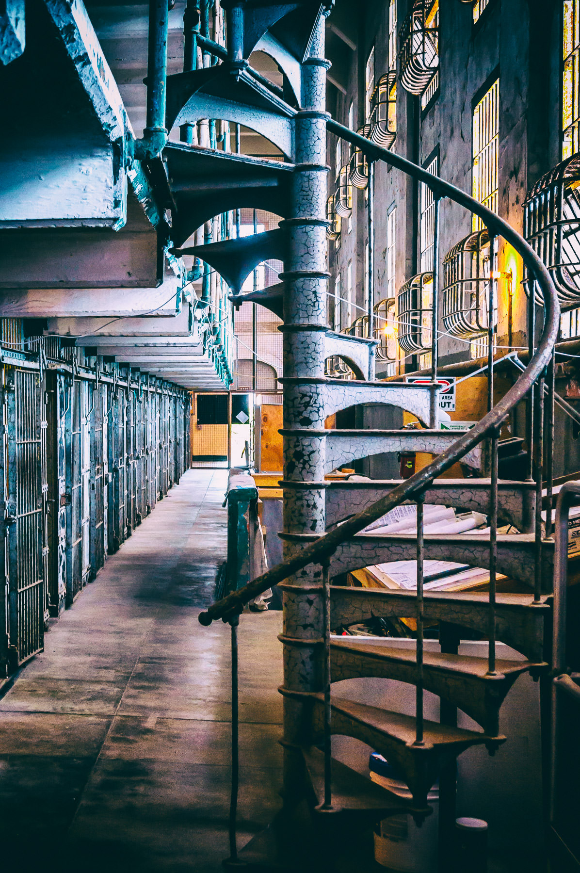 A spiral staircase in the cell block at Alcatraz Federal Penitentiary, San Francisco.