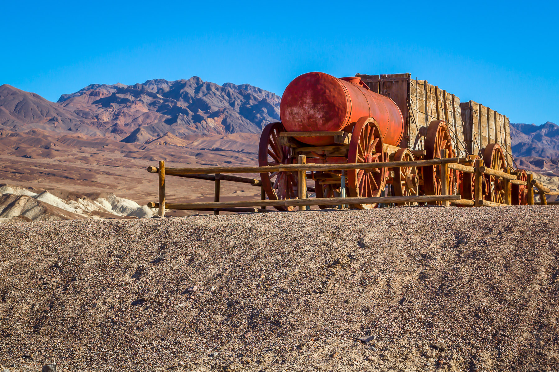 An old borax-hauling wagon train on display in California's Death Valley National Park.