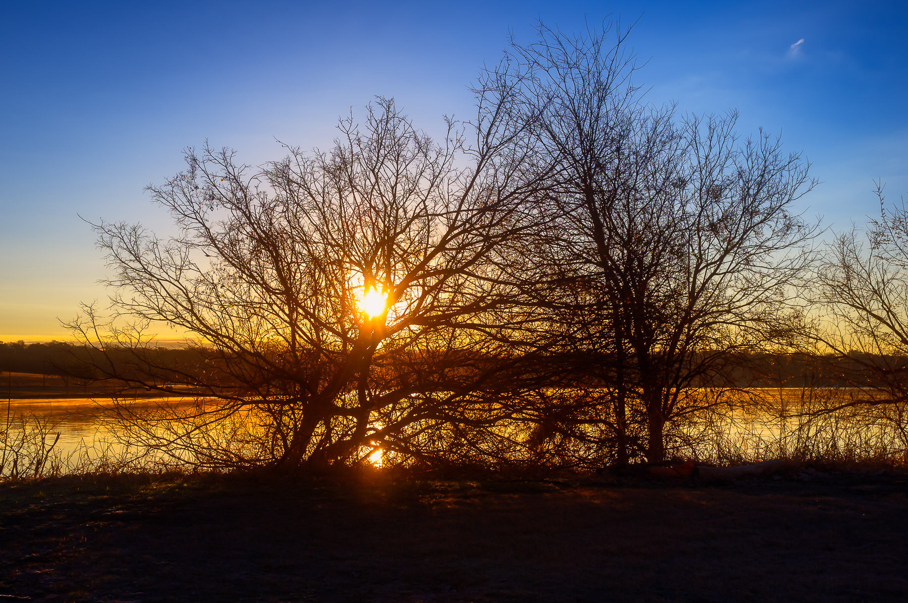The sun rises over the east shore of Dallas' White Rock Lake.