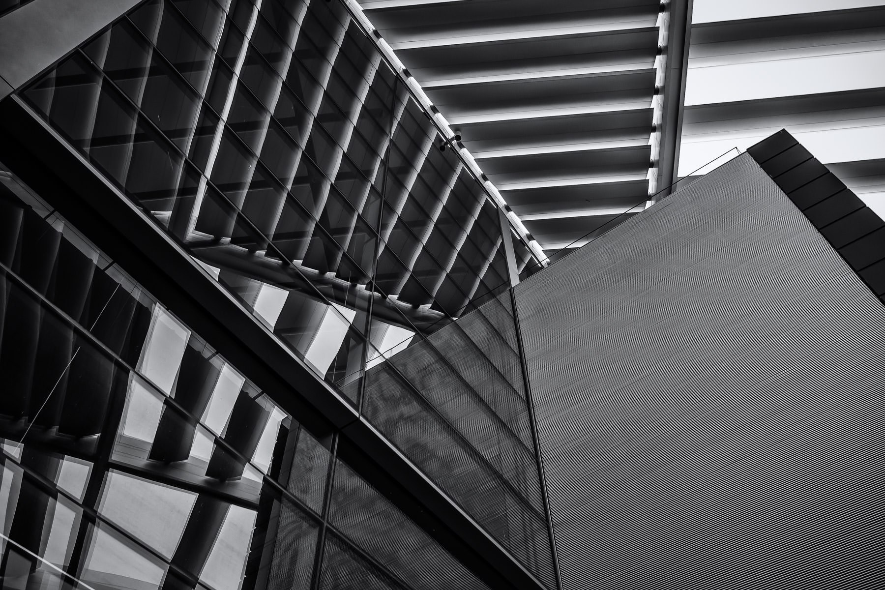 Architectural detail of Dallas' Winspear Opera House at the AT&T Performing Arts Center.