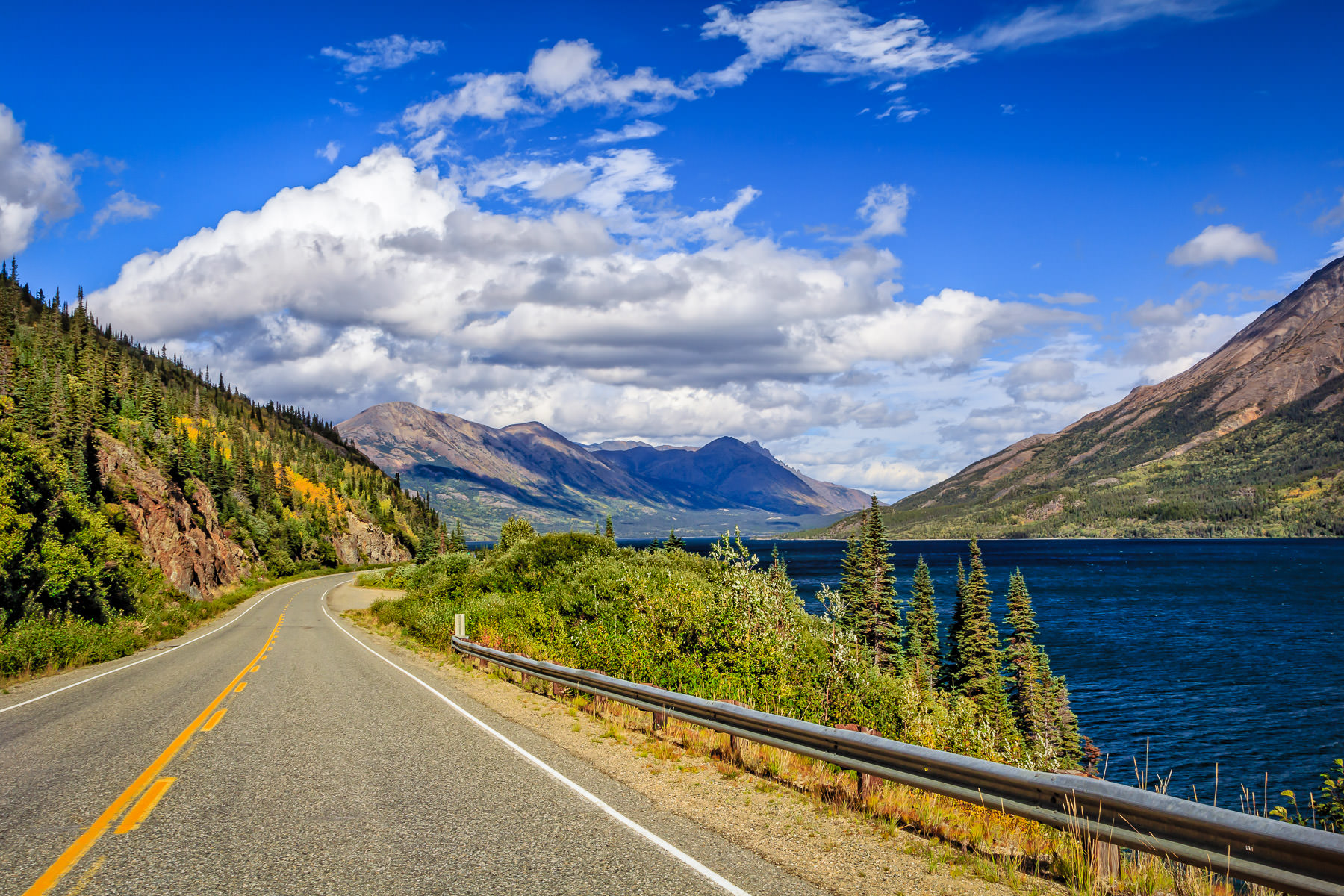 The Klondike Highway snakes along the edge of Tutshi Lake in British Columbia's Stikine Region.