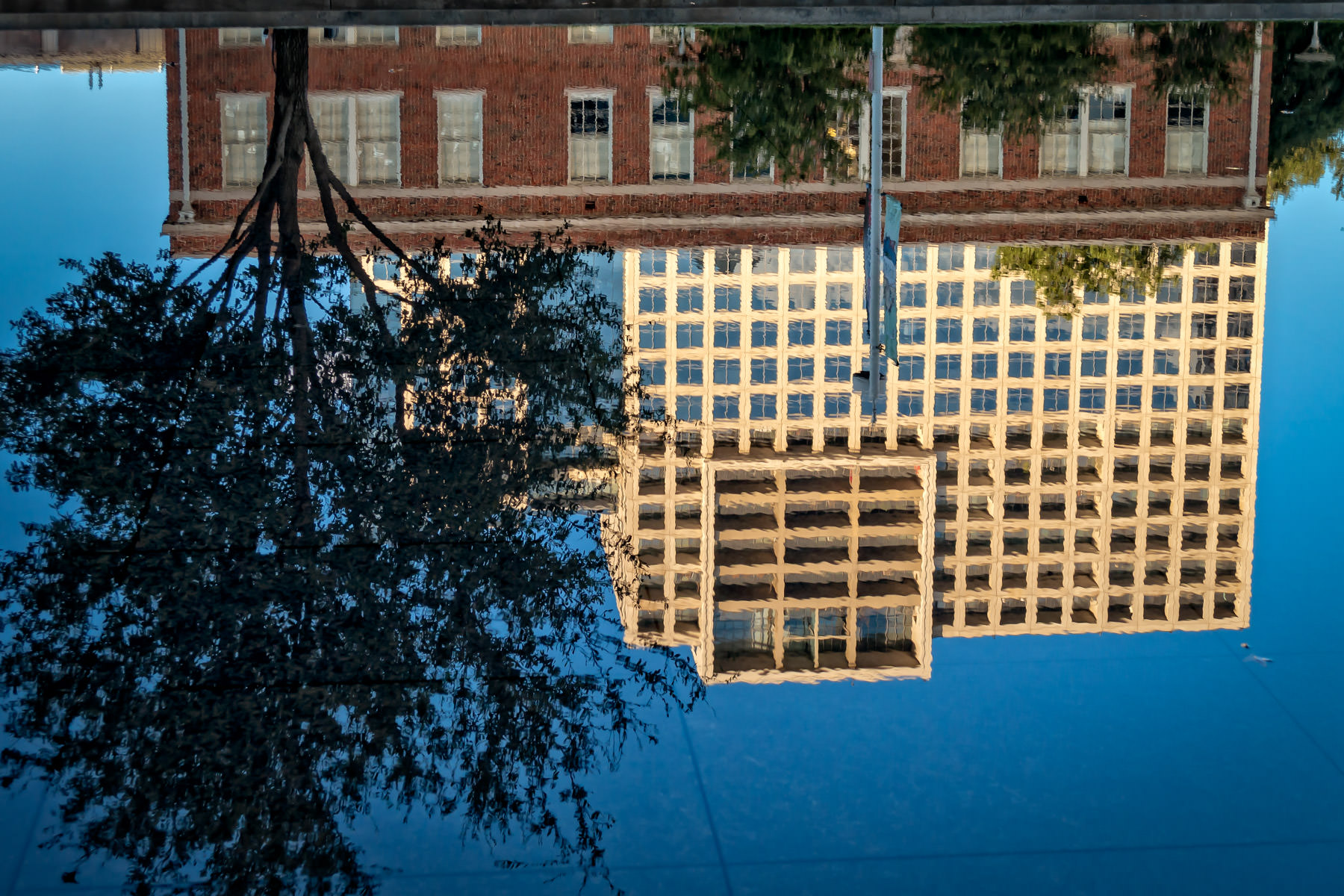 The Dallas Arts District's One Arts Plaza, reflected in the adjacent Winspear Opera House's reflecting pool.