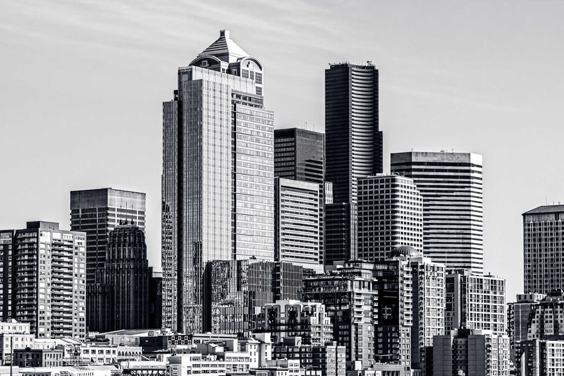 A cluster of buildings gleams in the Pacific Northwest sun in Downtown Seattle.
