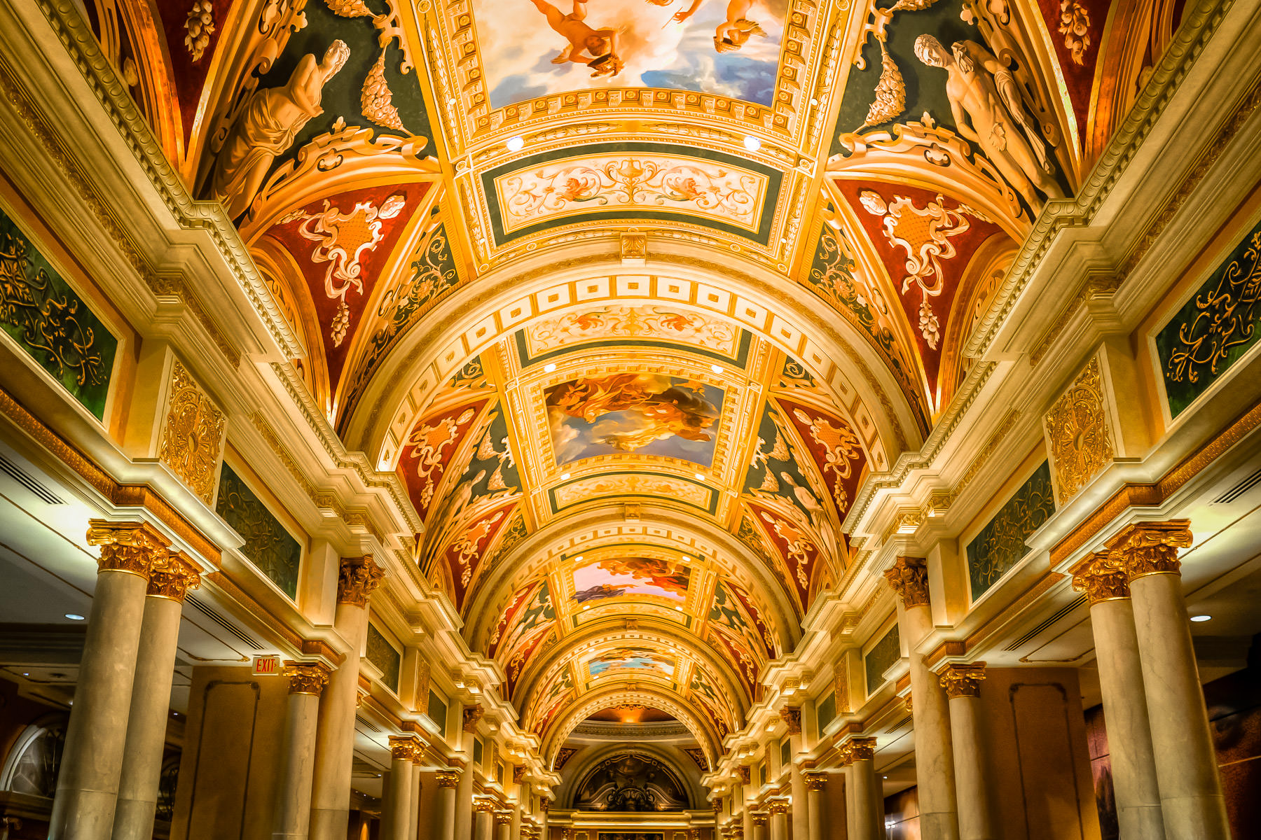 An intricately-painted vaulted ceiling inside The Venetian, Las Vegas.