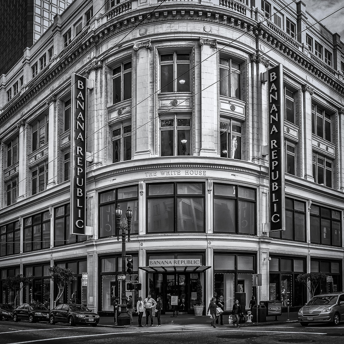 A Banana Republic housed in a 1910 Beaux Arts-style building that once housed the Raphael Weill & Company dry goods store and known as The White House near Downtown San Francisco.