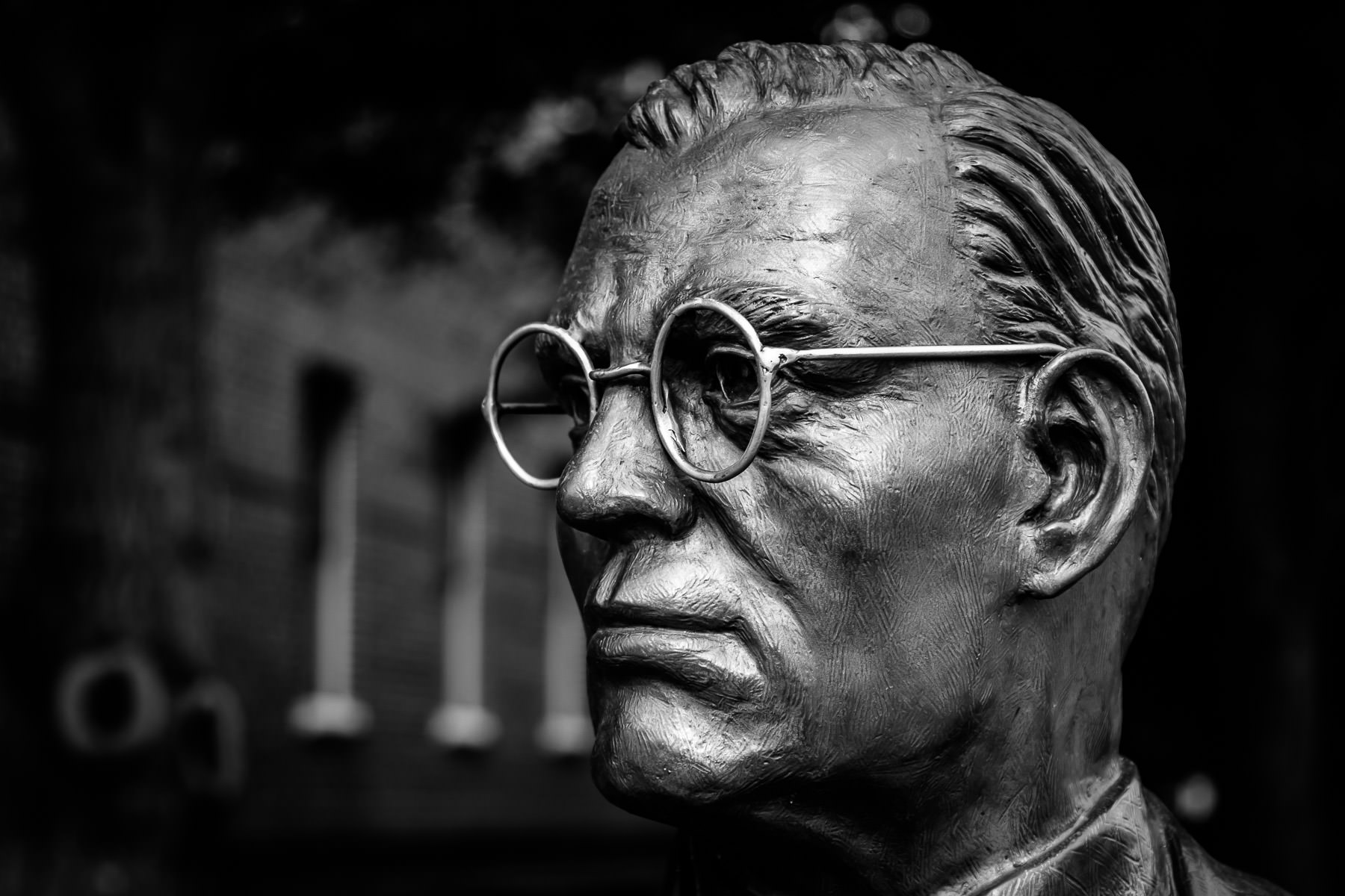 Detail of a statue of former mayor of Grapevine, Texas, Benjamin Richard Wall, sculpted by noted bronze artist Archie St. Clair.